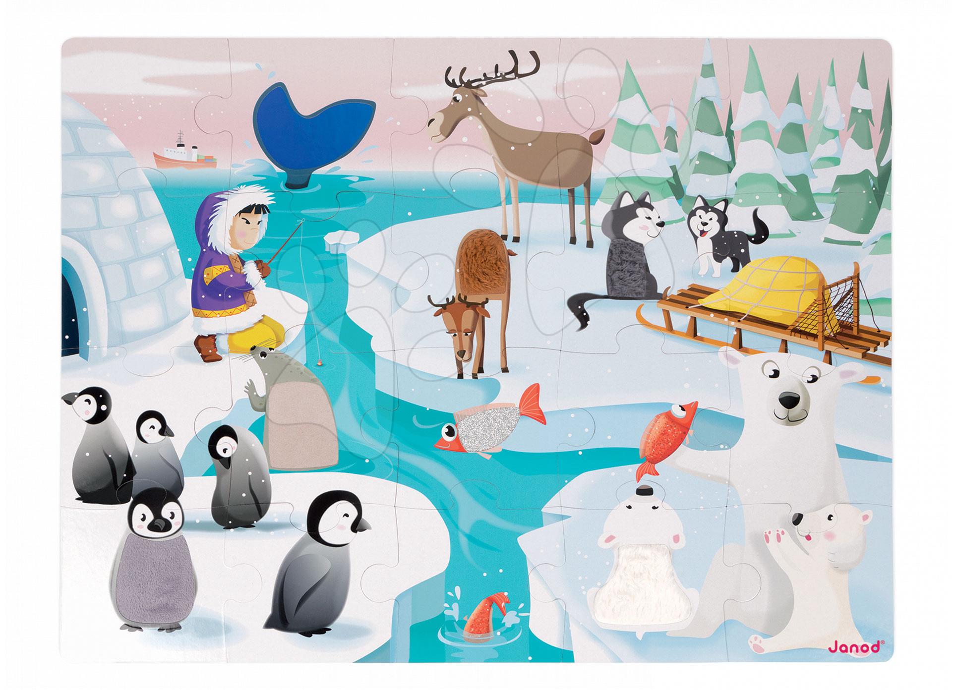 Puzzle Tactile Život na ledě Janod s texturou 20 dílů od 3 let