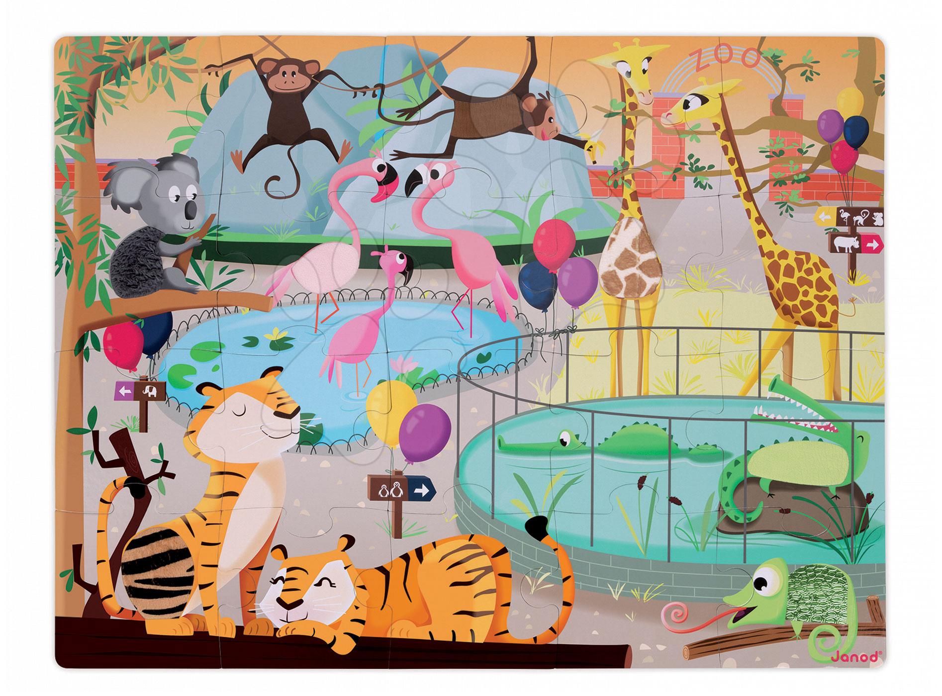 Puzzle pre najmenších - Puzzle Tactile Deň v zoologickej záhrade Janod s textúrou 20 dielov od 3 rokov