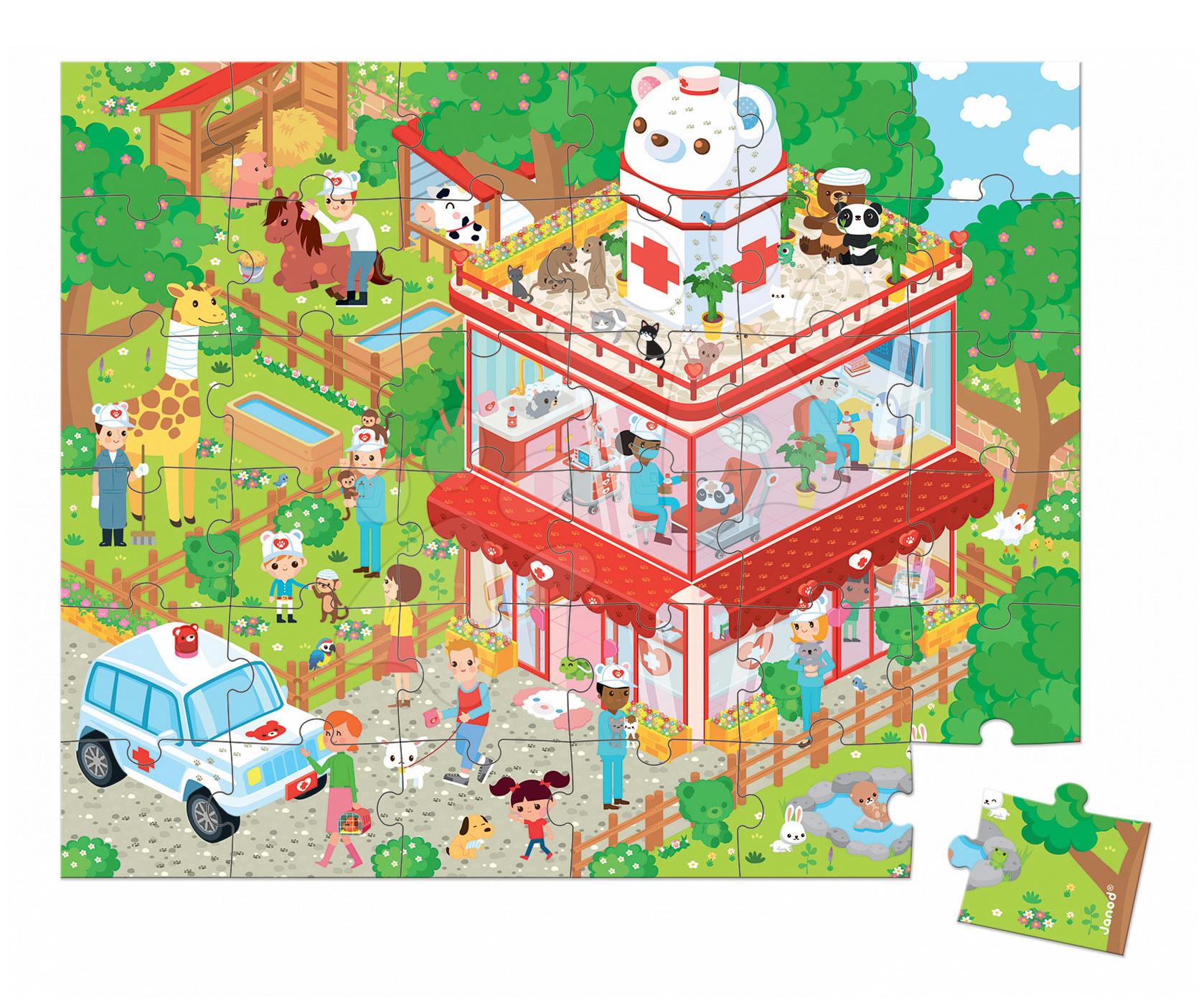 Detské puzzle do 100 dielov - Puzzle U veterinára so zvieratkami Janod v okrúhlom kufríku 36 dielov od 4 - 7 rokov