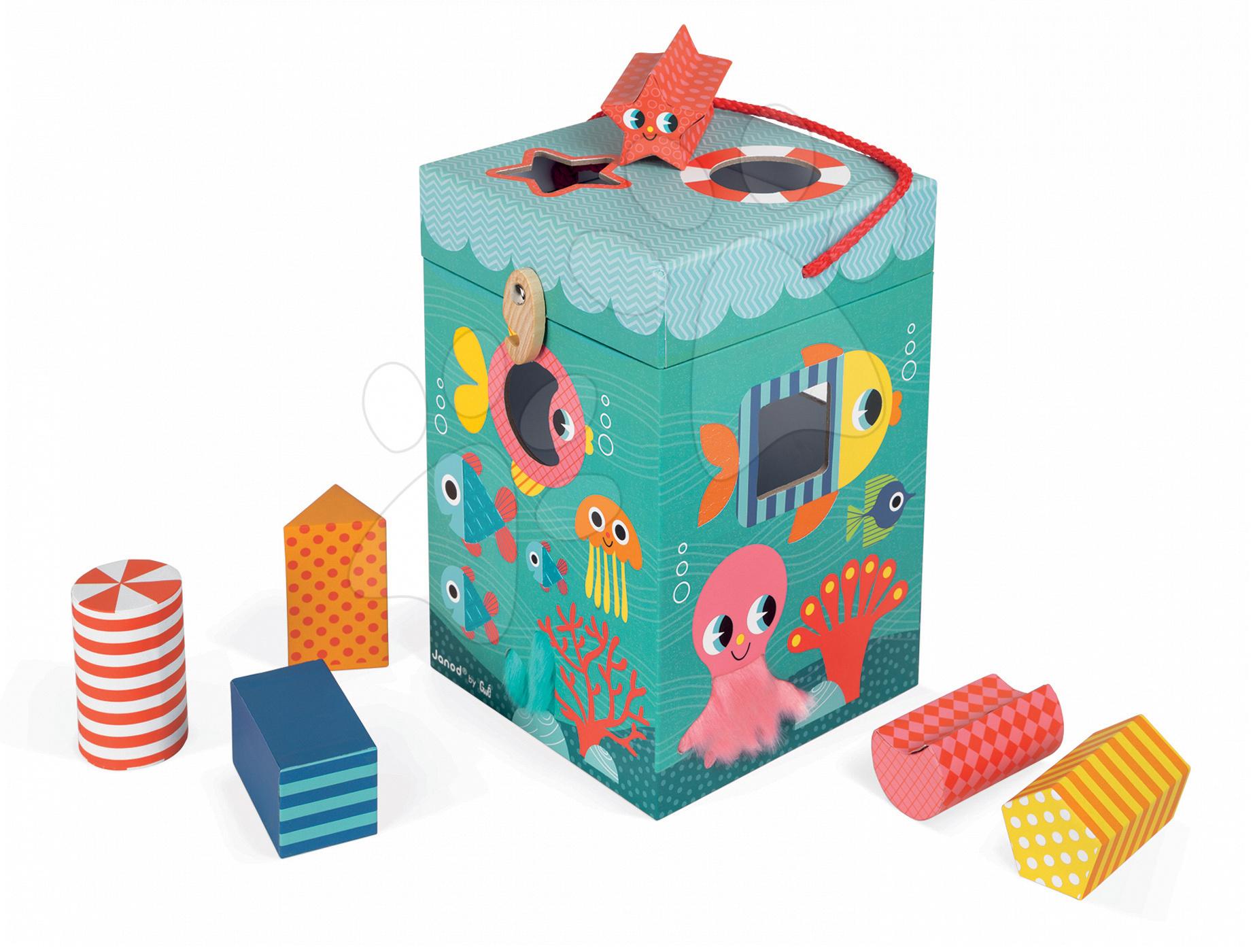 Vývoj motoriky - Didaktická kocka Oceán Janod s rôznymi textúrami a kockami od 12 mes