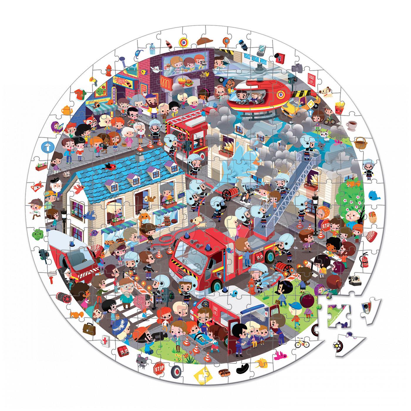 Okrúhle puzzle Požiarnici Janod v okrúhlom kufríku 208 dielov od 6 - 9 rokov