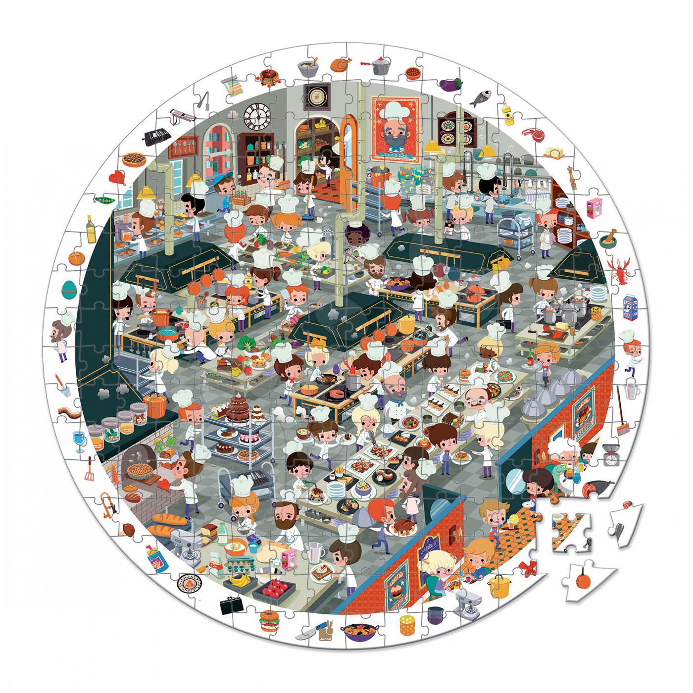 Kulaté puzzle Kuchyně restaurace Janod v kulatém kufříku 208 dílů od 6 - 9 let