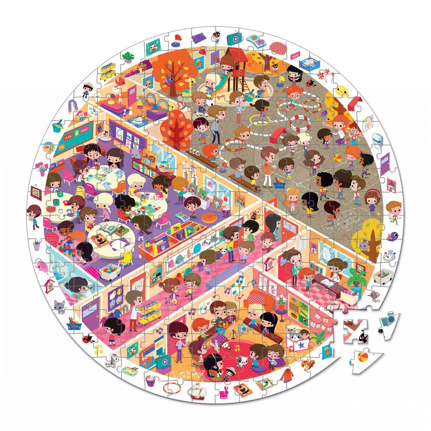 Detské puzzle od 100-300 dielov - Puzzle Škola Janod v okrúhlom kufríku 208 dielov od 6 - 9 rokov