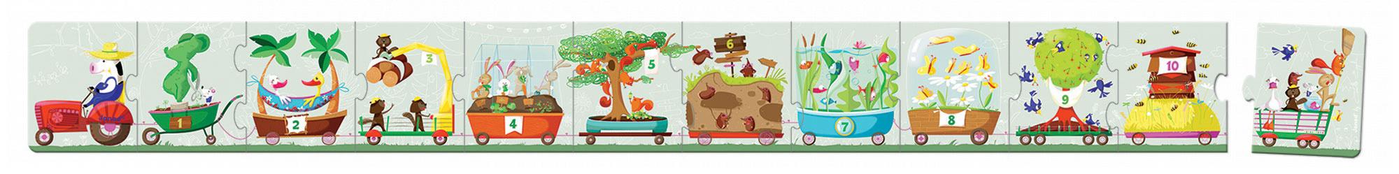 Puzzle Traktor s čísly Janod v kulatém kufříku 12 dílů od 3 - 6 let