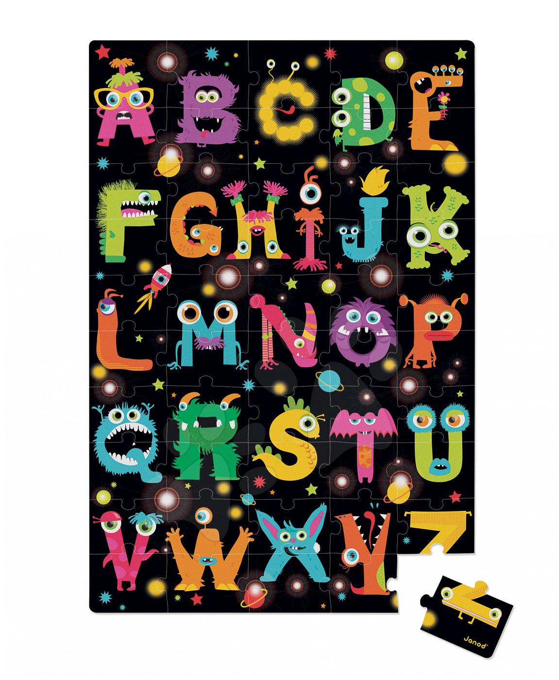 Detské skladacie koberce - Puzzle Giant Floor ABC Príšerky Janod v okrúhlom kufríku 50 dielov od 4 - 7 rokov