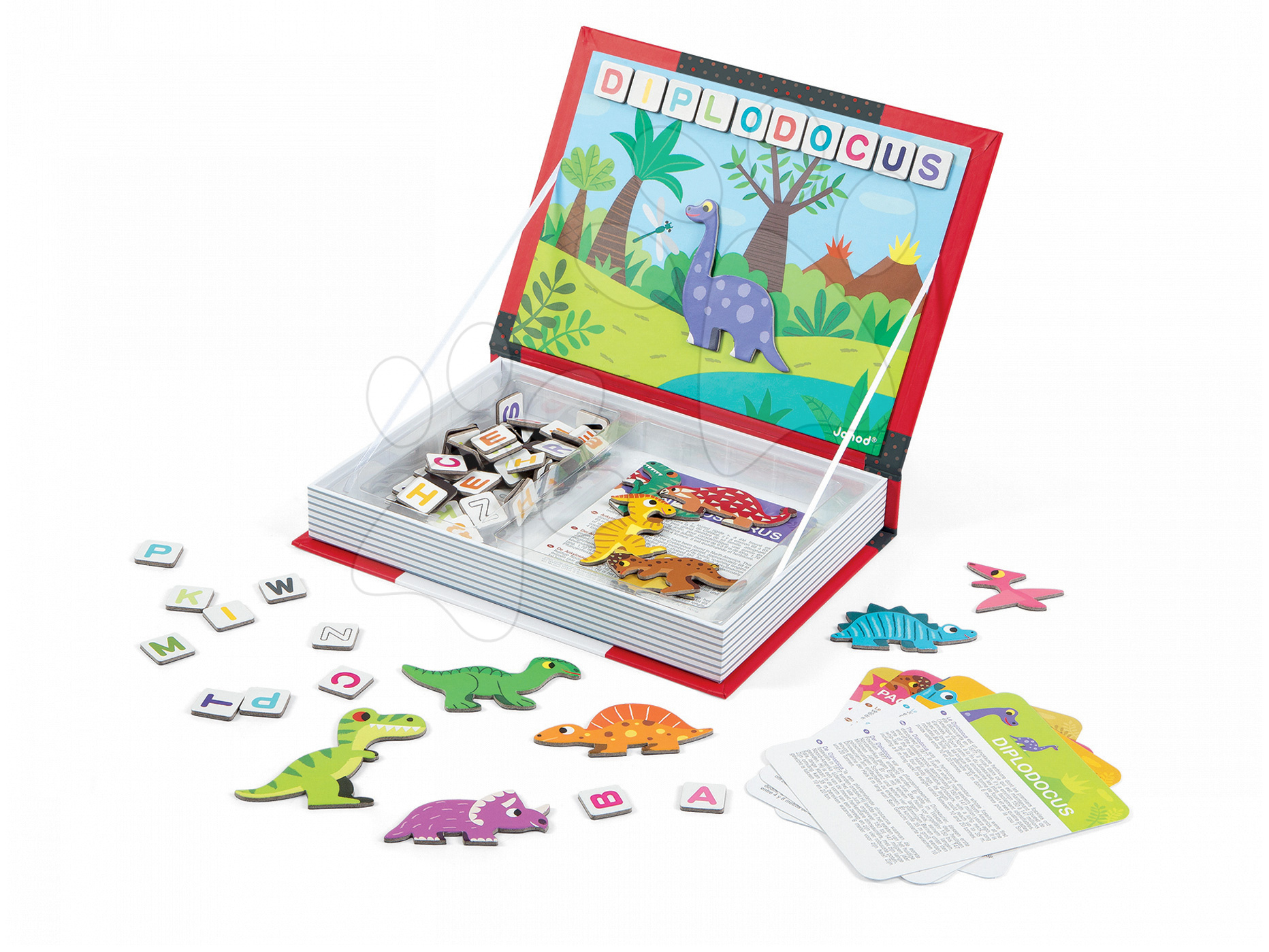 Magnetická kniha Dinosaurus Magneti'Book Janod 104 + 12 magnetů a 12 karet