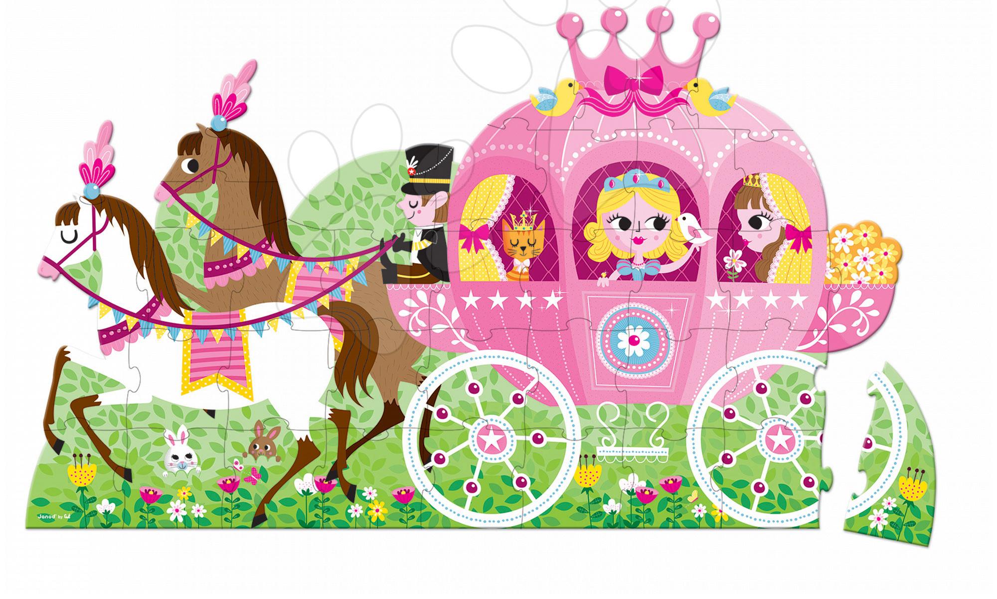 Detské skladacie koberce - Puzzle Floor Princezná v koči Janod v okrúhlom kufríku 39 dielov od 4 - 7 rokov