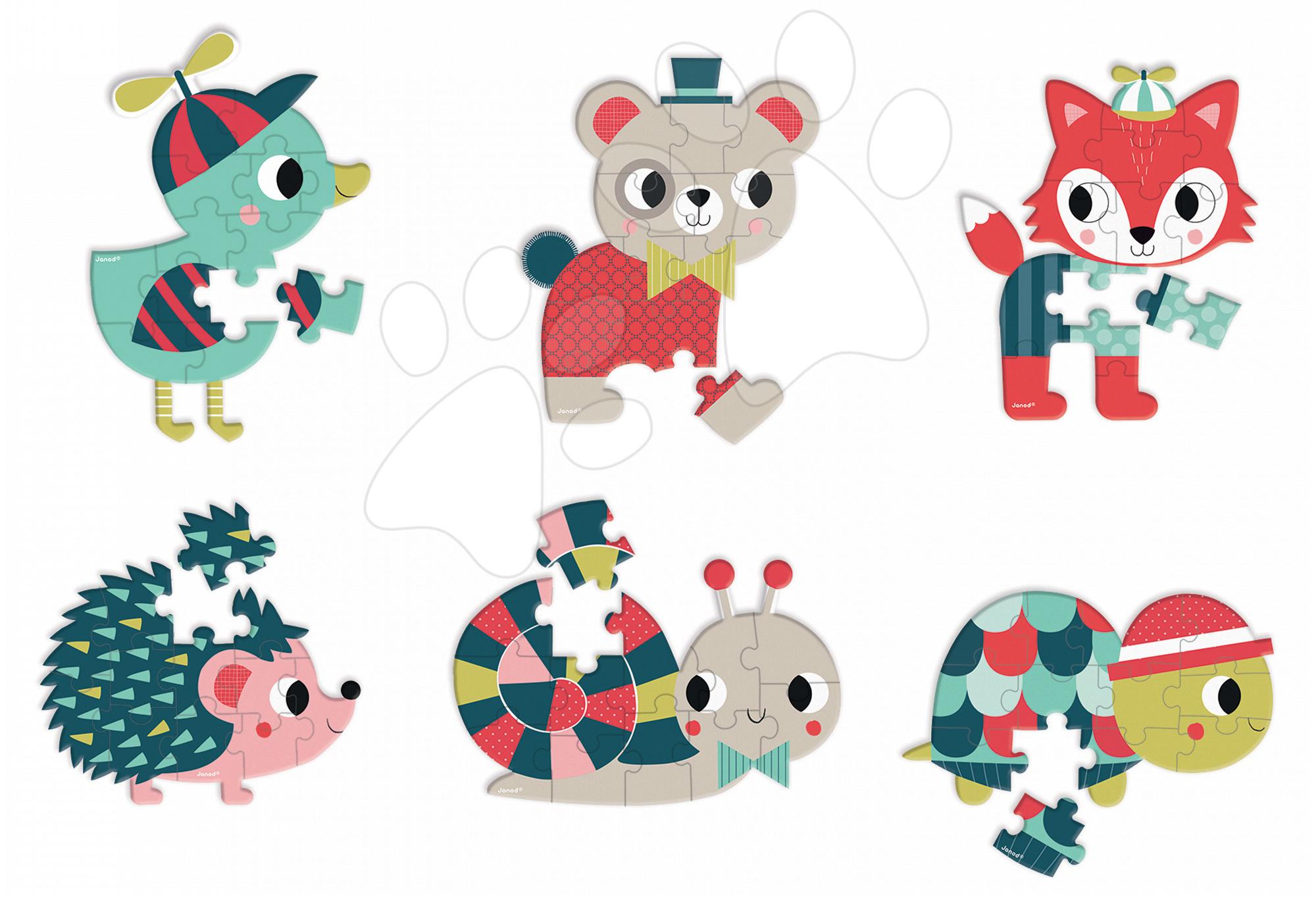 Mini puzzle Baby Forest Janod liška/kachnička/ježek/šneček/medvídek/želva od 3 let