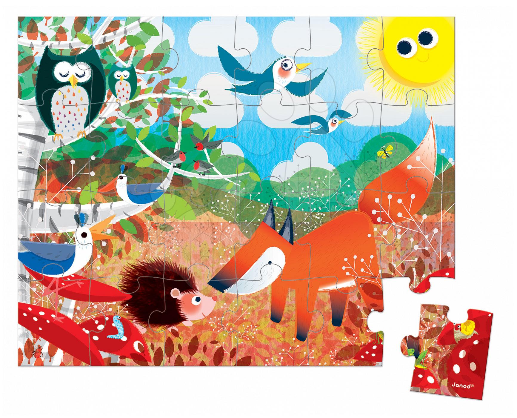 Detské puzzle do 100 dielov - Puzzle Zvieratká v lese Janod v okrúhlom kufríku 24 dielov od 3 rokov