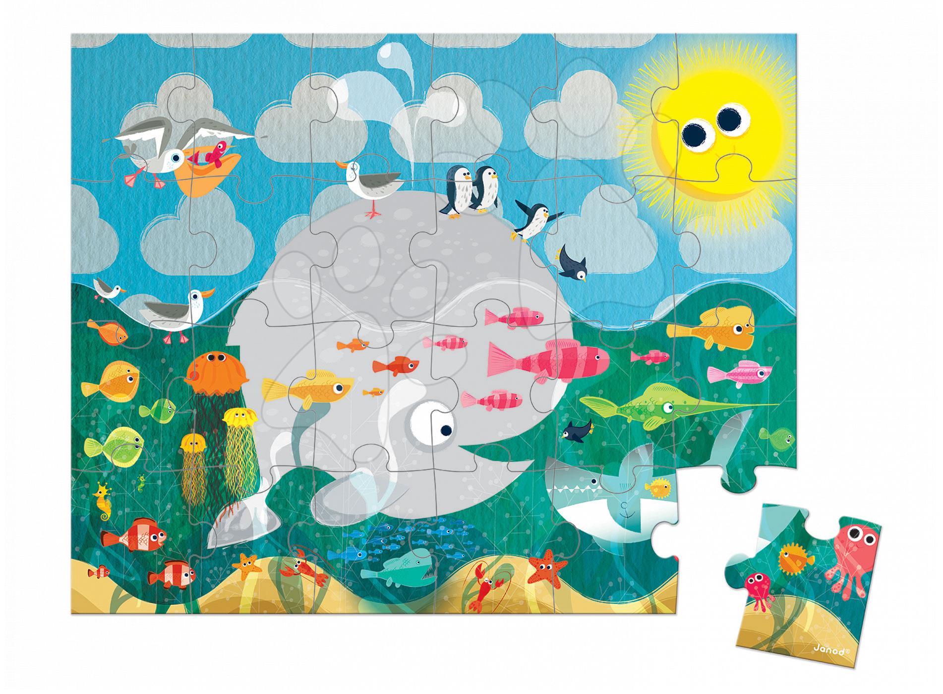 Puzzle Oceán s rybami Janod v kulatém kufříku 24 dílů od 3 - 6 let