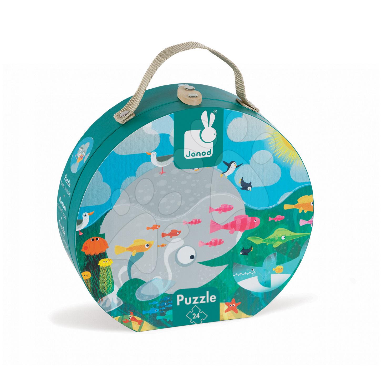 Detské puzzle do 100 dielov - Puzzle Oceán s rybami Janod v okrúhlom kufríku 24 dielov od 3 - 6 rokov