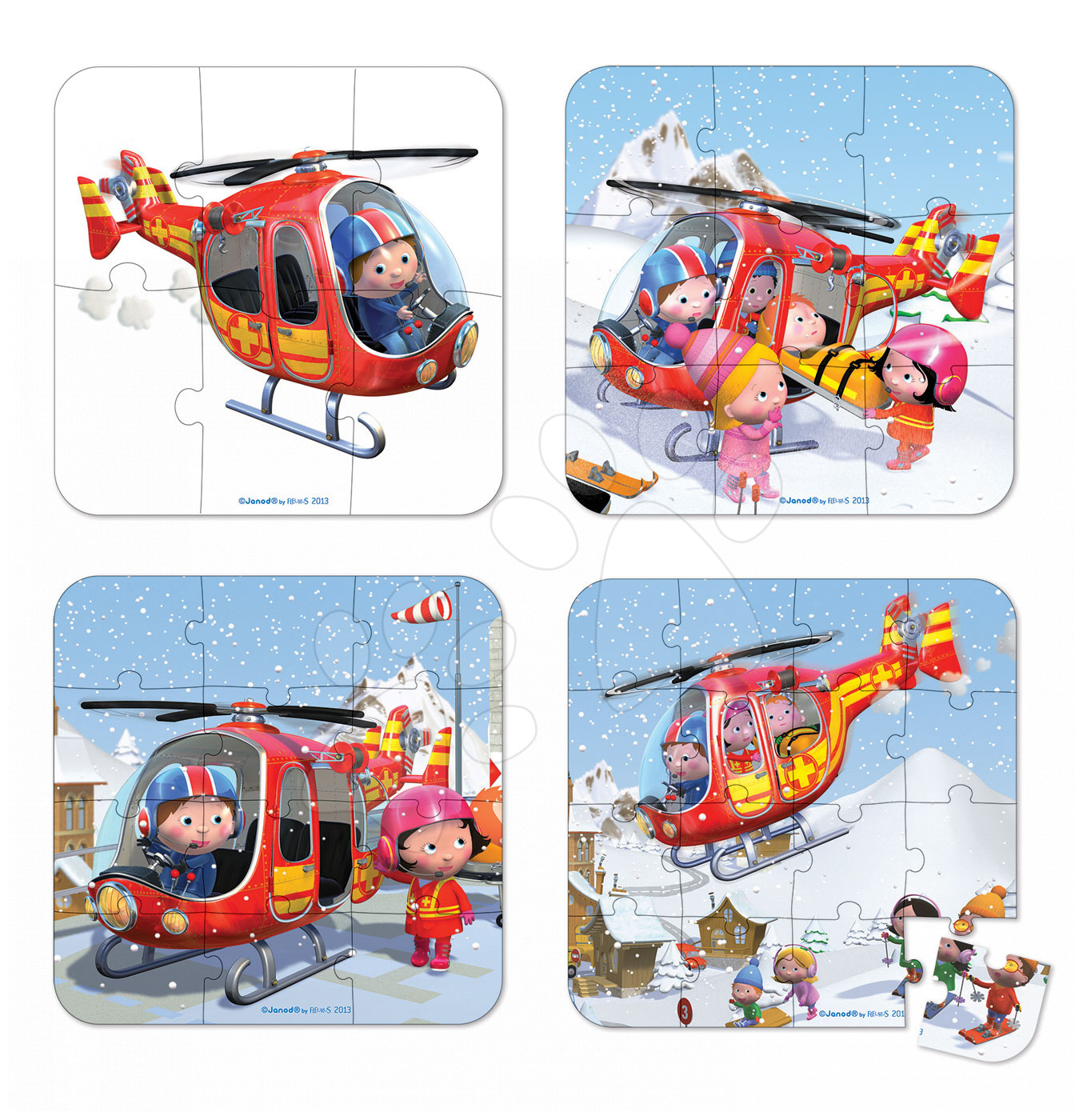 Detské puzzle do 100 dielov - Puzzle Pierrova helikoptéra Janod v kufríku 6-9-12-16 dielov od 3 - 6 rokov