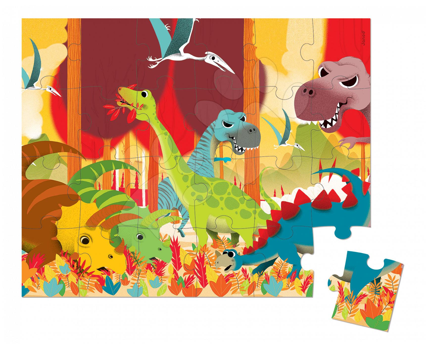 Detské puzzle do 100 dielov - Puzzle Dinosaurus Janod v okrúhlom kufríku 24 dielov od 3 - 6 rokov