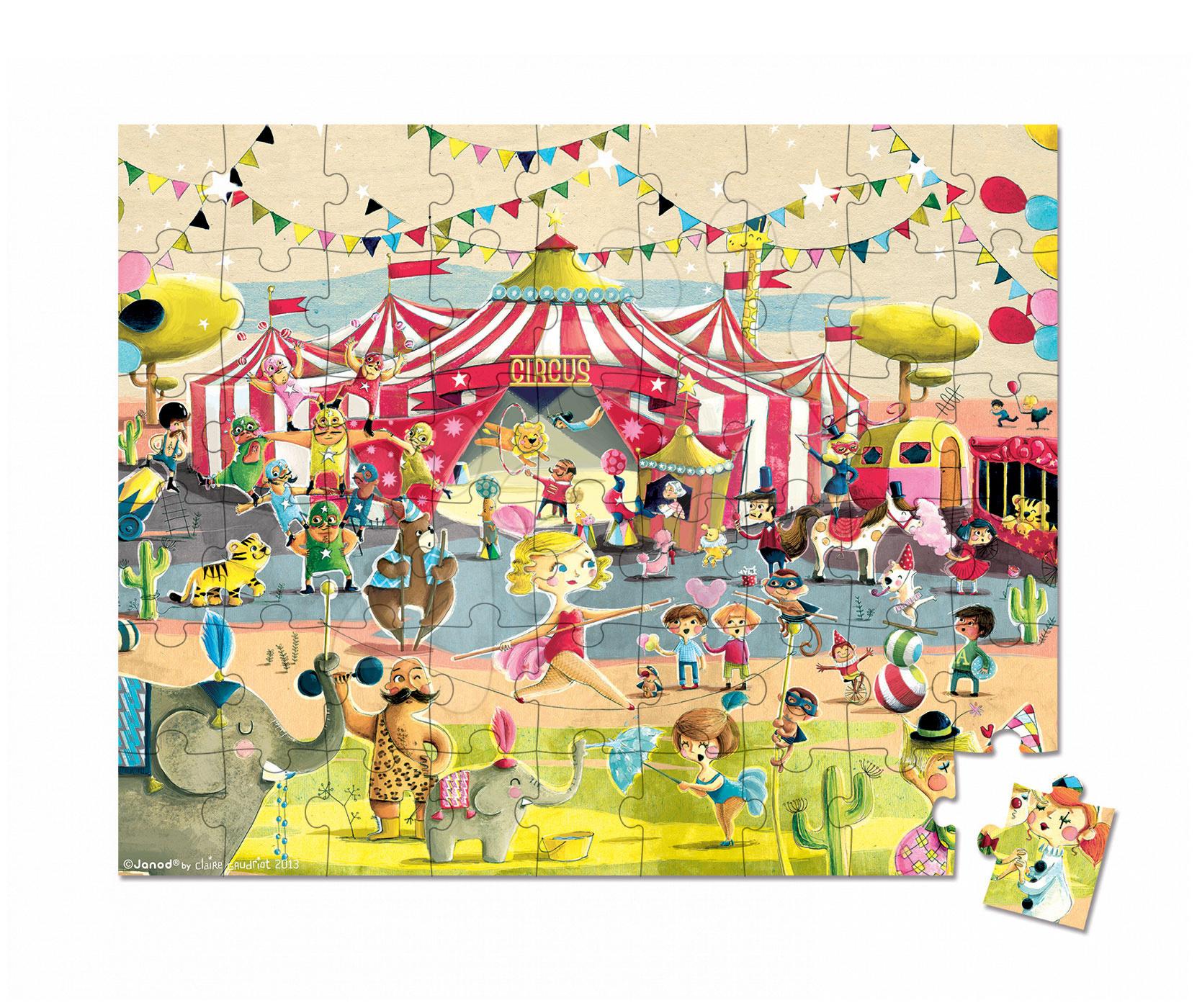 Detské puzzle do 100 dielov - Puzzle Cirkus Janod v okrúhlom kufríku 54 dielov od 5 - 8 rokov