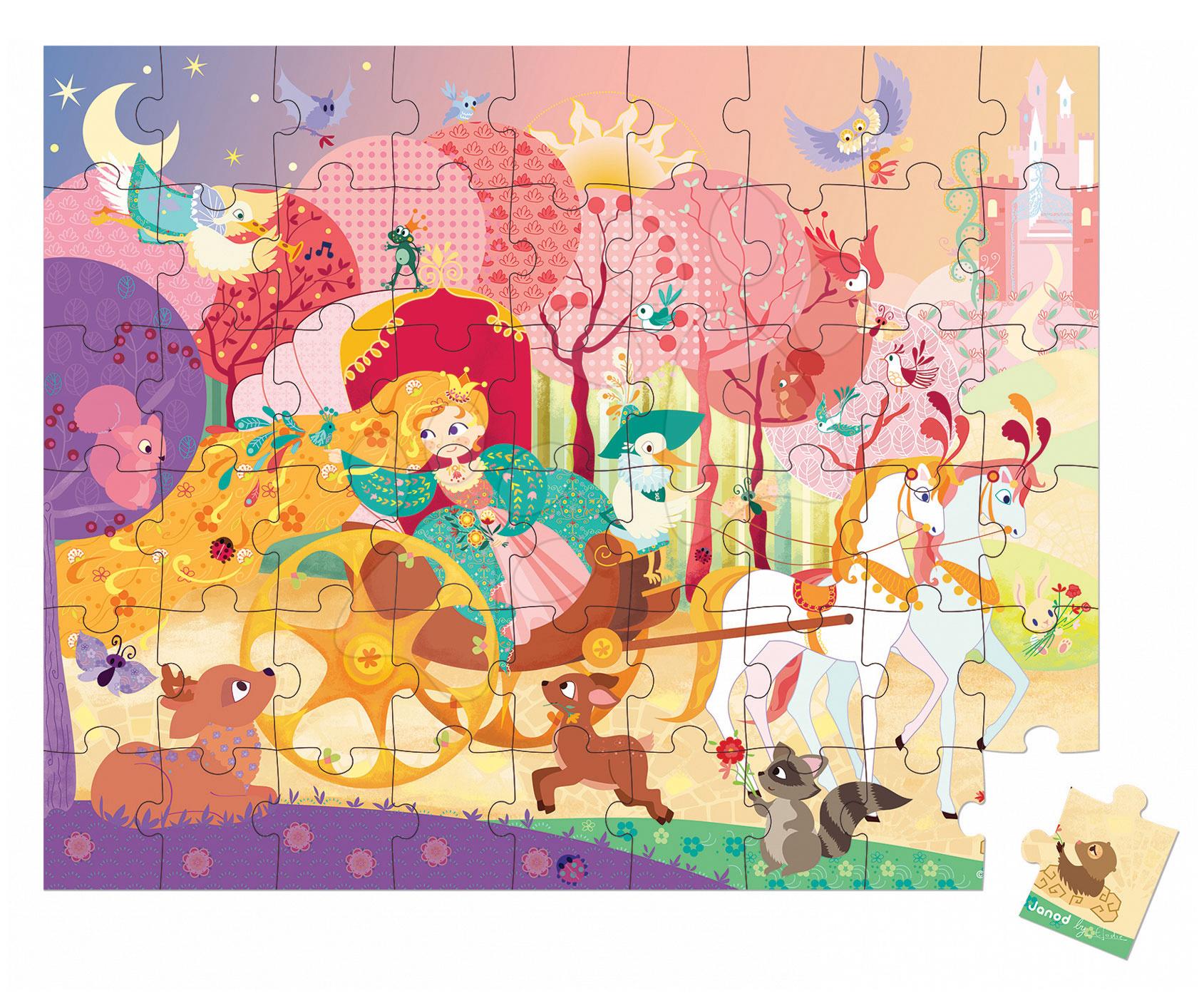 Detské puzzle do 100 dielov - Puzzle Princezná a koč Janod v okrúhlom kufríku 54 dielov od 5 rokov