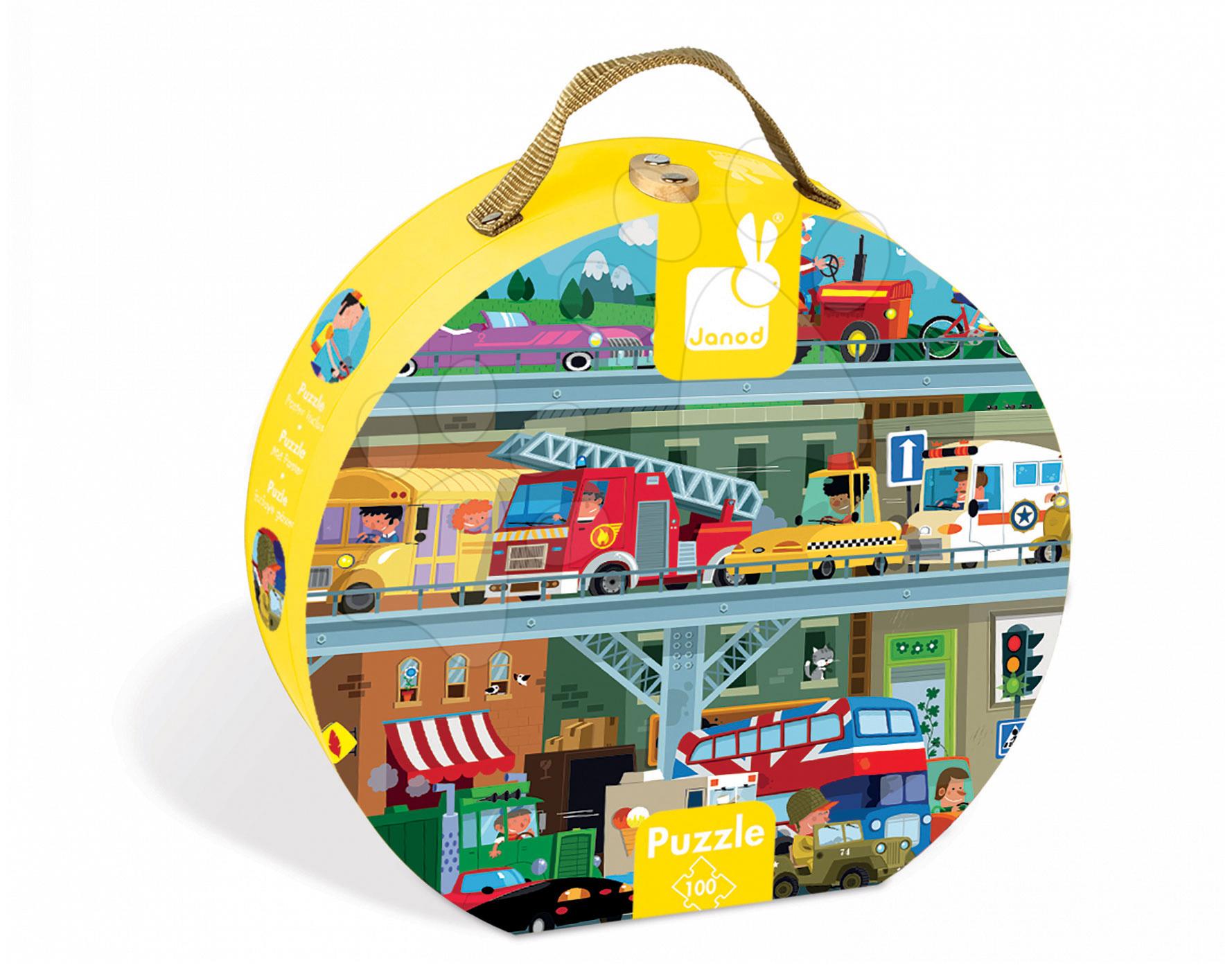 Detské puzzle od 100-300 dielov - Puzzle Vozidlá Janod v okrúhlom kufríku 100 dielov od 5 - 8 rokov
