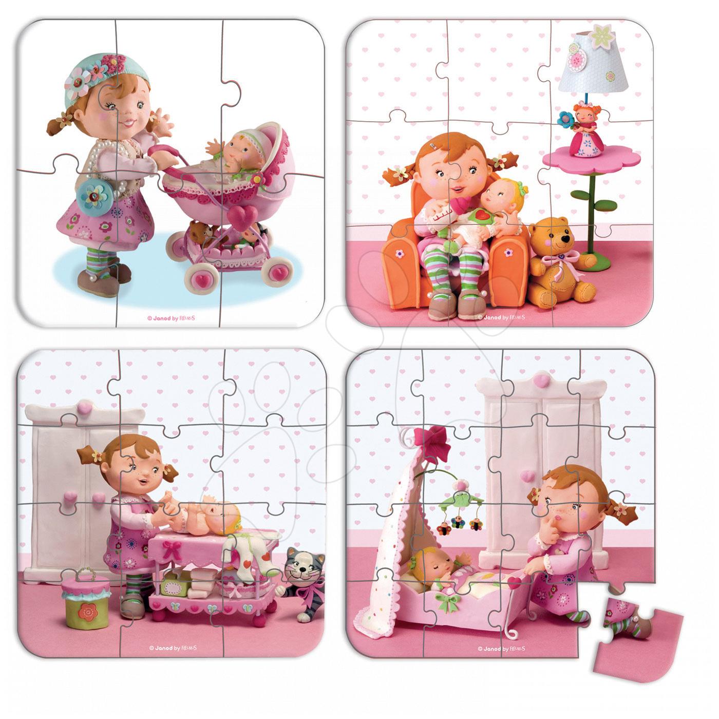 Detské puzzle do 100 dielov - Puzzle Lilou a bábiky Janod v kufríku 6-9-12-16 dielov od 3 - 6 rokov