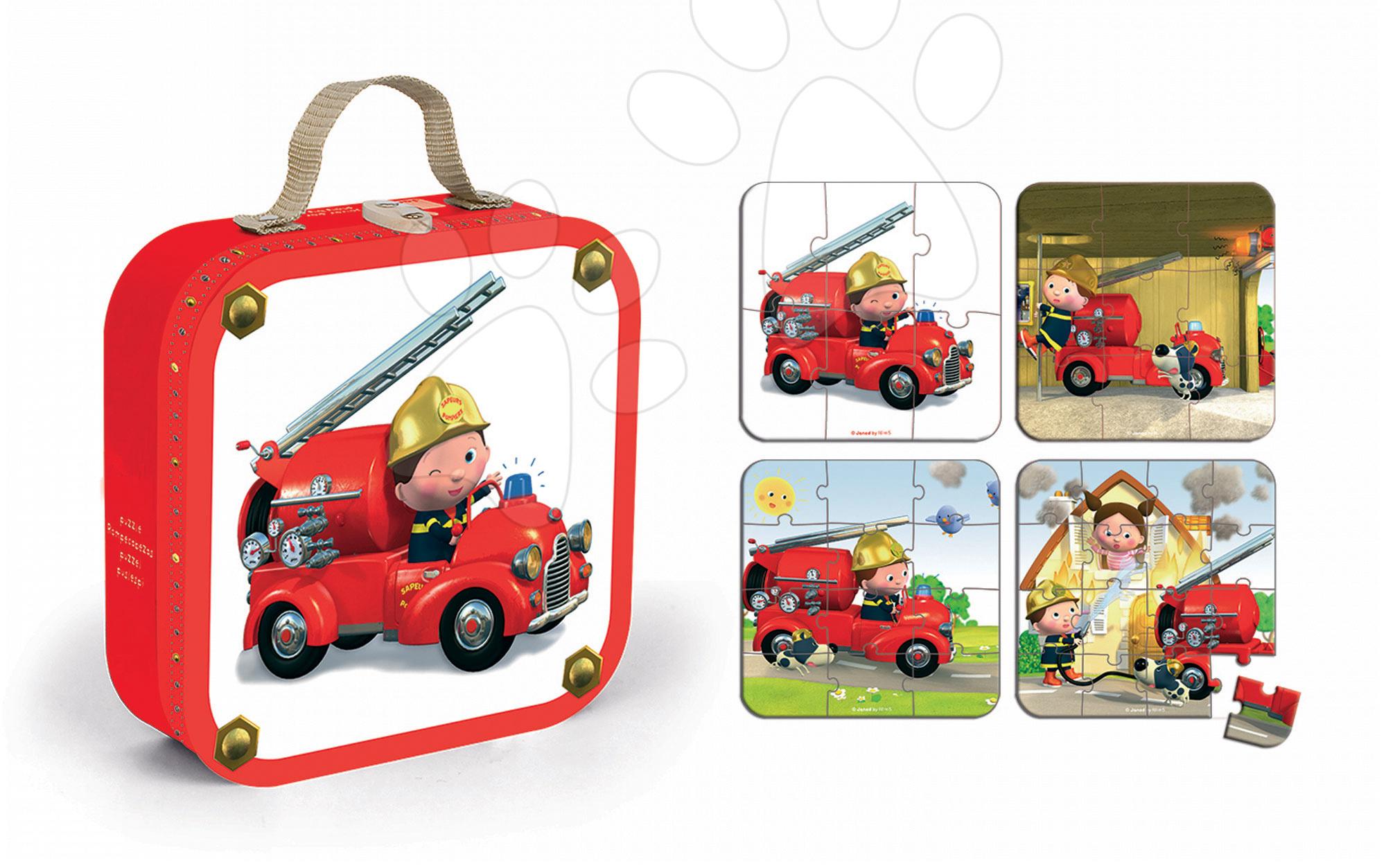 Puzzle Leonovo hasičské auto Janod v kufříku 6-9-12-16 dílů