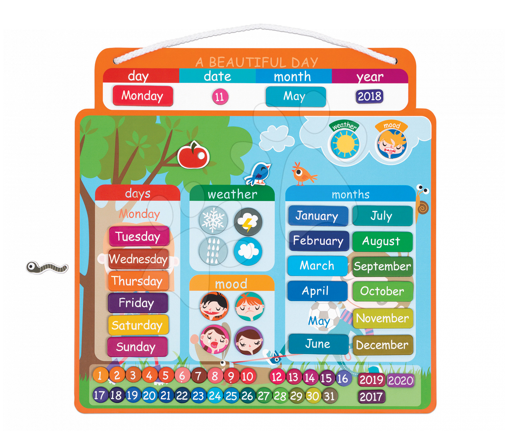 Magnetky pre deti - Magnetická tabuľa Magnetic Calendar - A Beautiful Day Janod v angličtine