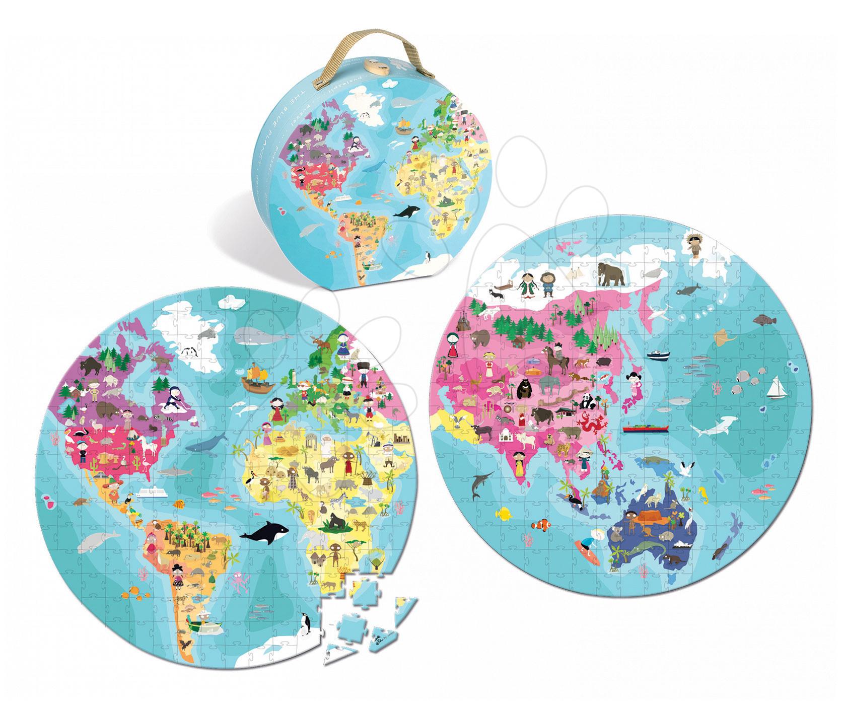 Detské puzzle od 100-300 dielov - Obojstranné puzzle Naša Modrá Planéta Janod v okrúhlom kufríku 208 dielov od 6 - 9 rokov