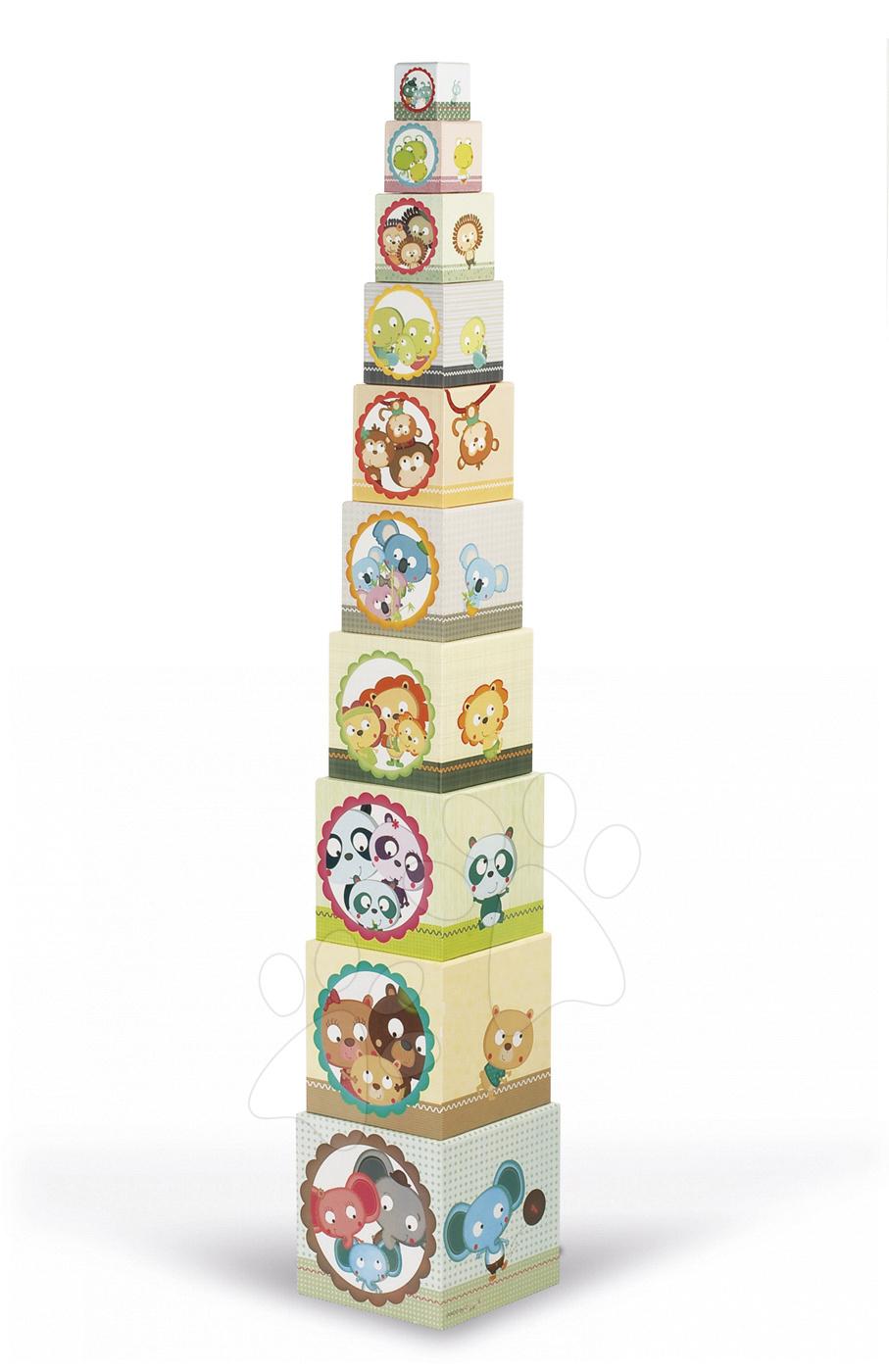 Vývoj motoriky - Skladacia pyramída Rodinka zvierat Janod štvorcová 10 dielov od 12 mes