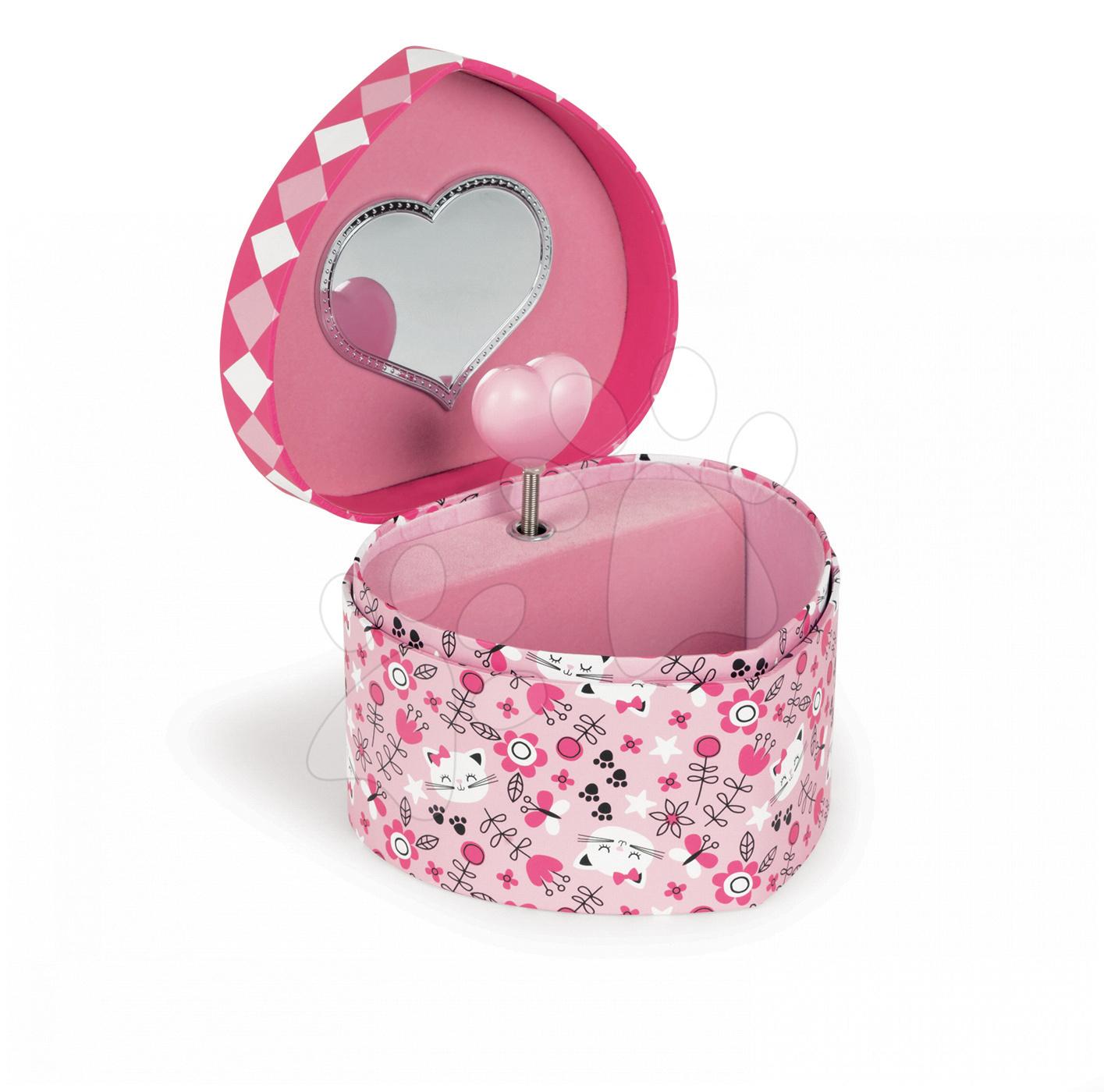 Hudební šperkovnice Jewellery Heart Musical Box-Cat Janod růžová ve tvaru srdíčka