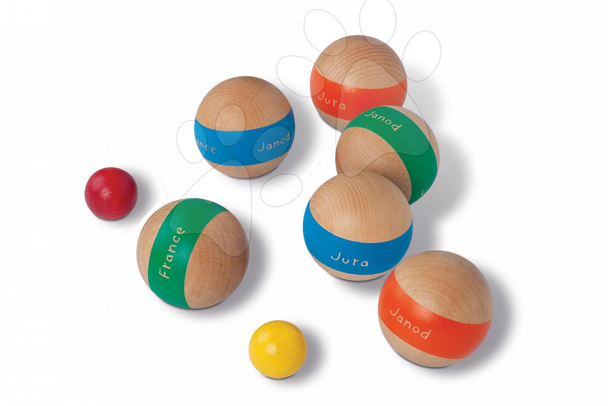 Dřevěné koule petanque 6 Bowls in a Basket Janod 6 velkých dřevěných koulí a 2 menší kuličky od 5 let