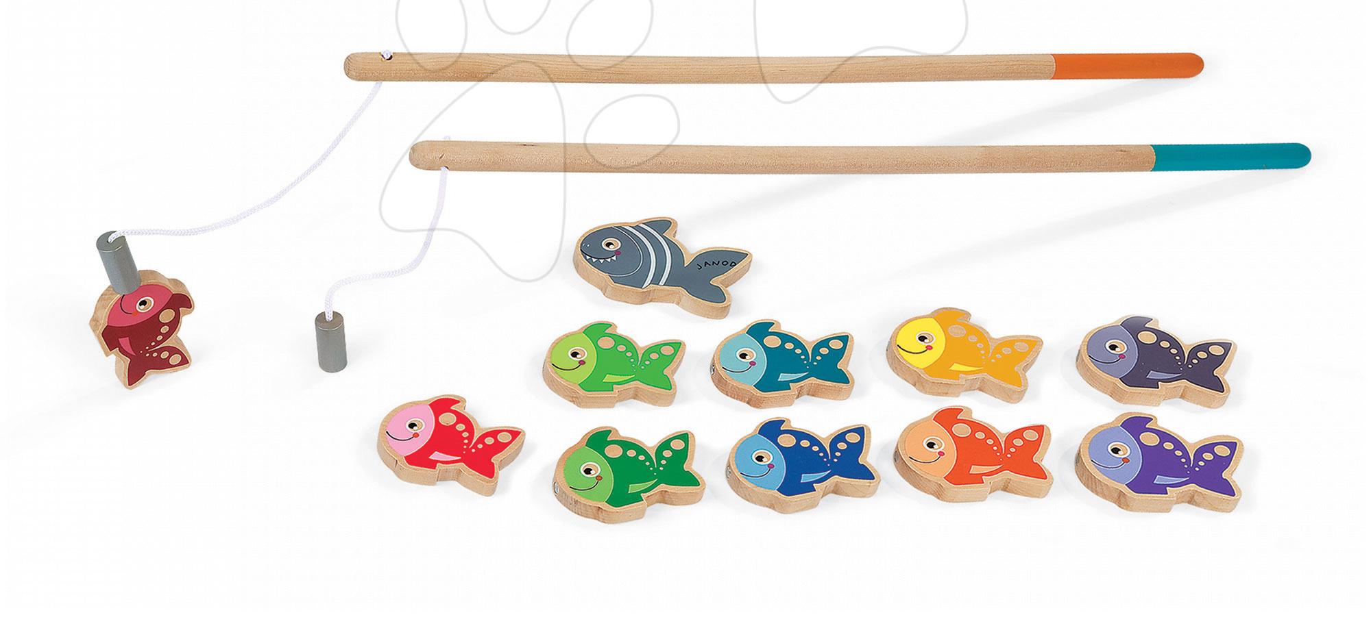 Hry na rybára - Drevené magnetické rybárske udice Let's Go Fishing Janod od 24 mes