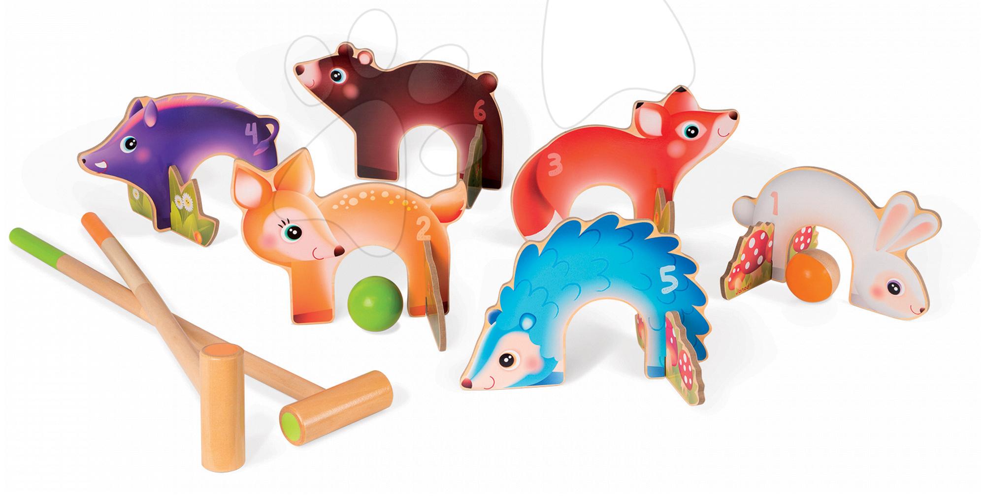 Kroket - Drevený kroket Forest Animal Croquet Janod so 6 lesnými zvieratkami