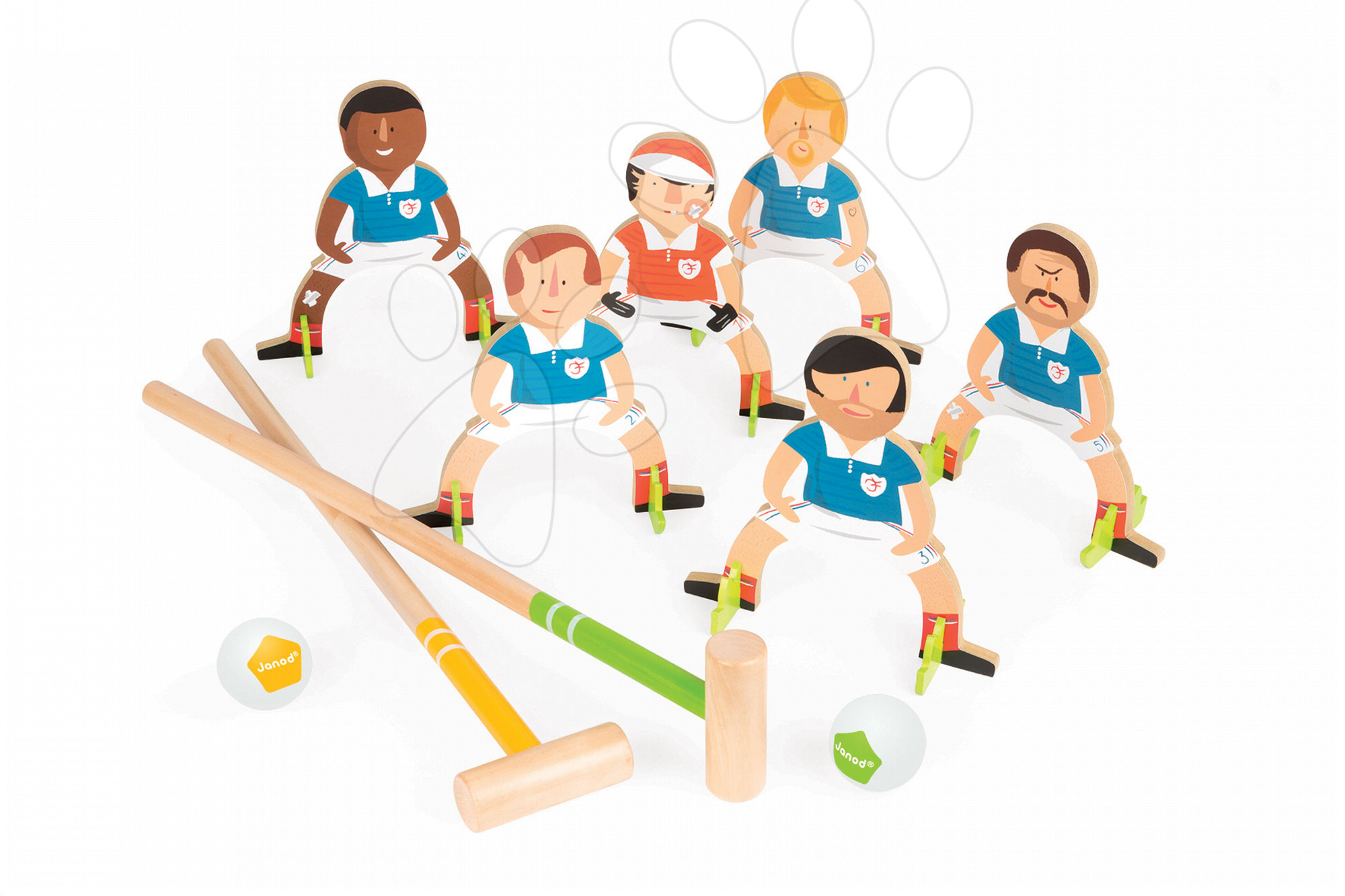 Dřevěná hra kroket Champions Croquet Janod se 6 fotbalisty od 4 let