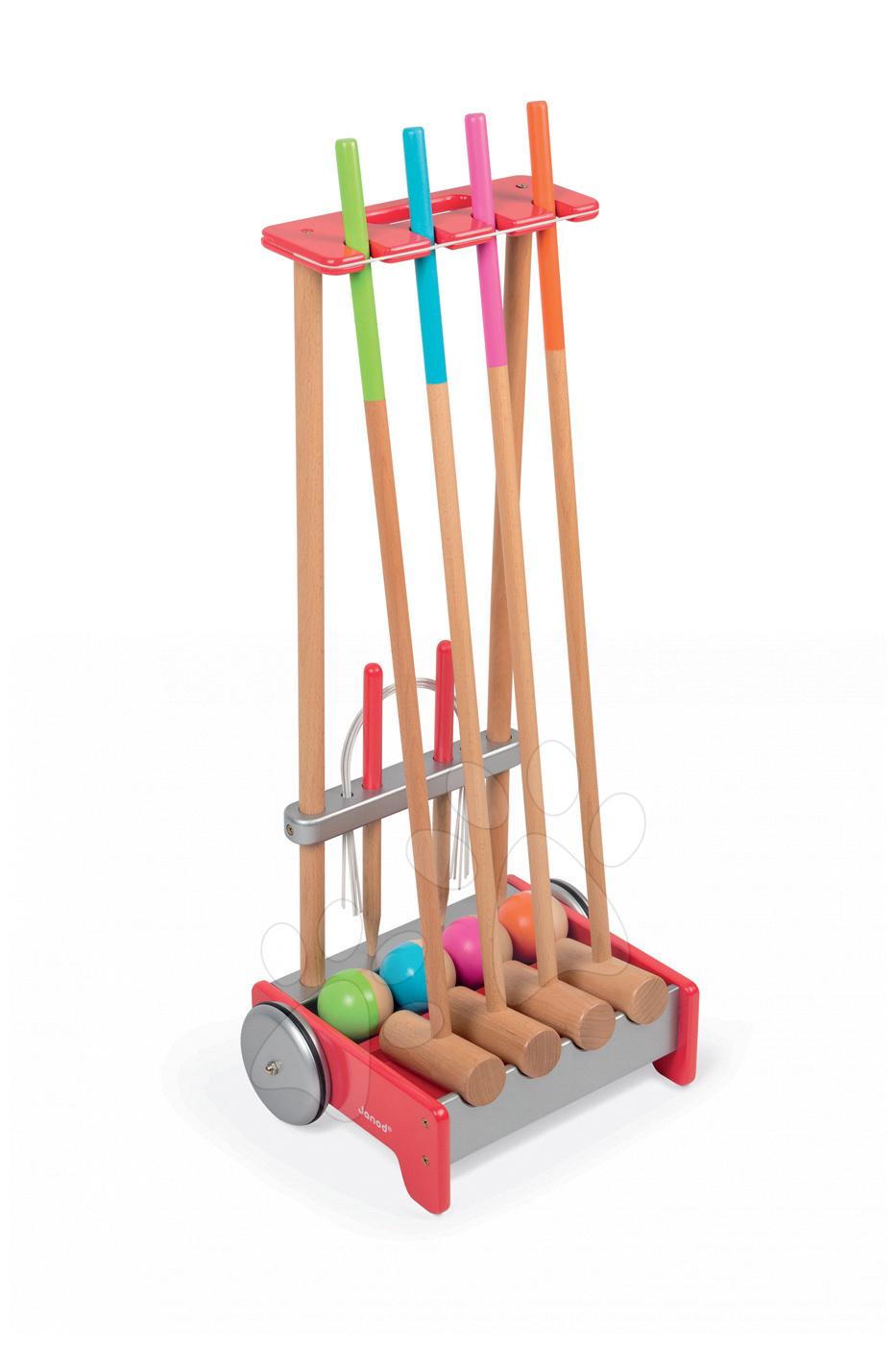 Kroket - Dřevěný kroket pro celou rodinu Janod s vozíkem a doplňky od 4 let