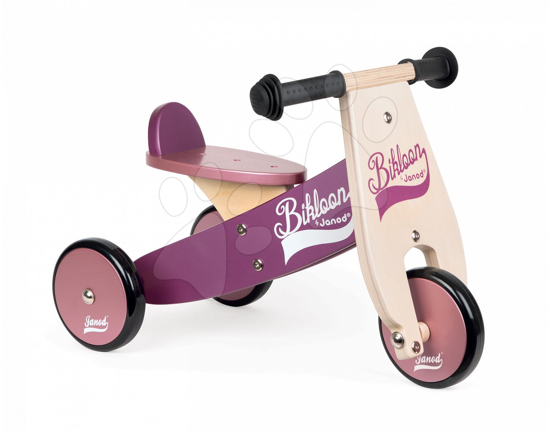 Dřevěné odrážedlo Little Bikloon Janod Pink&Purple od 12 měsíců