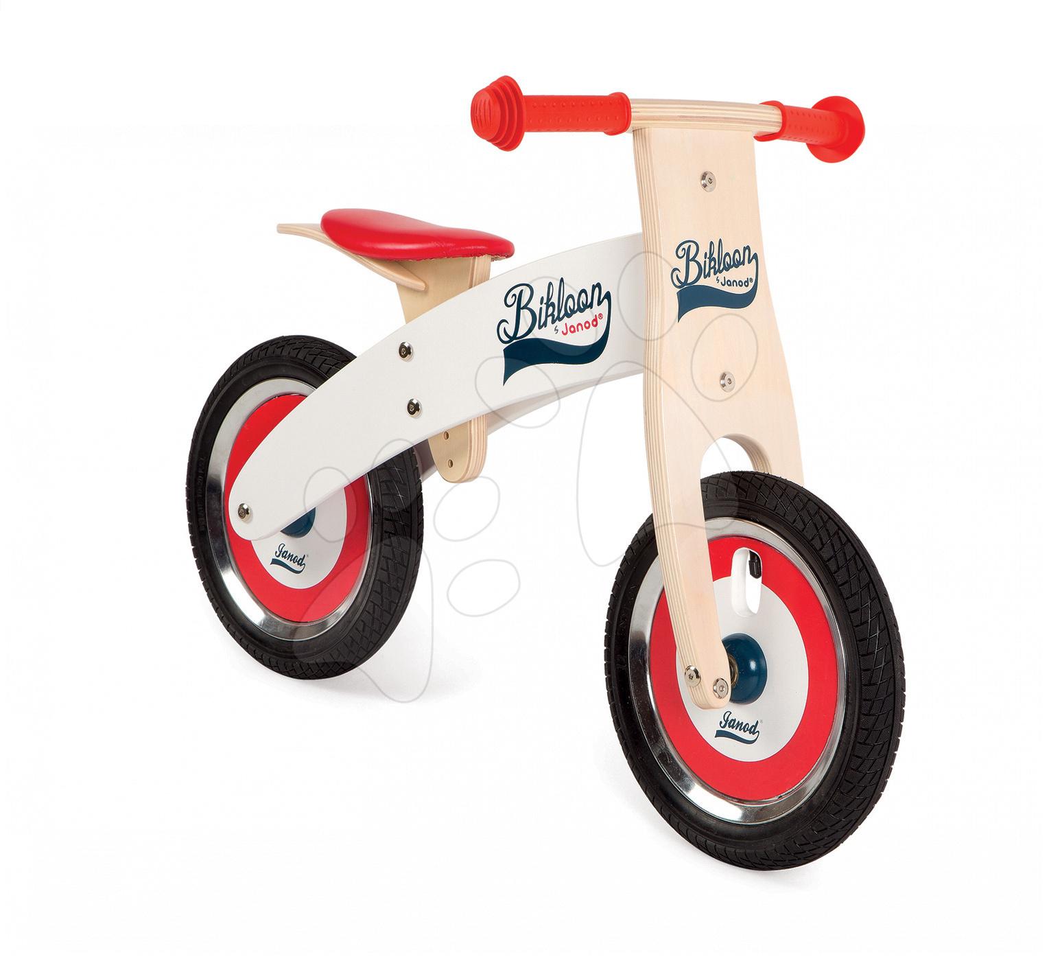 Drevené odrážadlá - Drevený balančný bicykel Bikloon Janod Red&White od 3 rokov