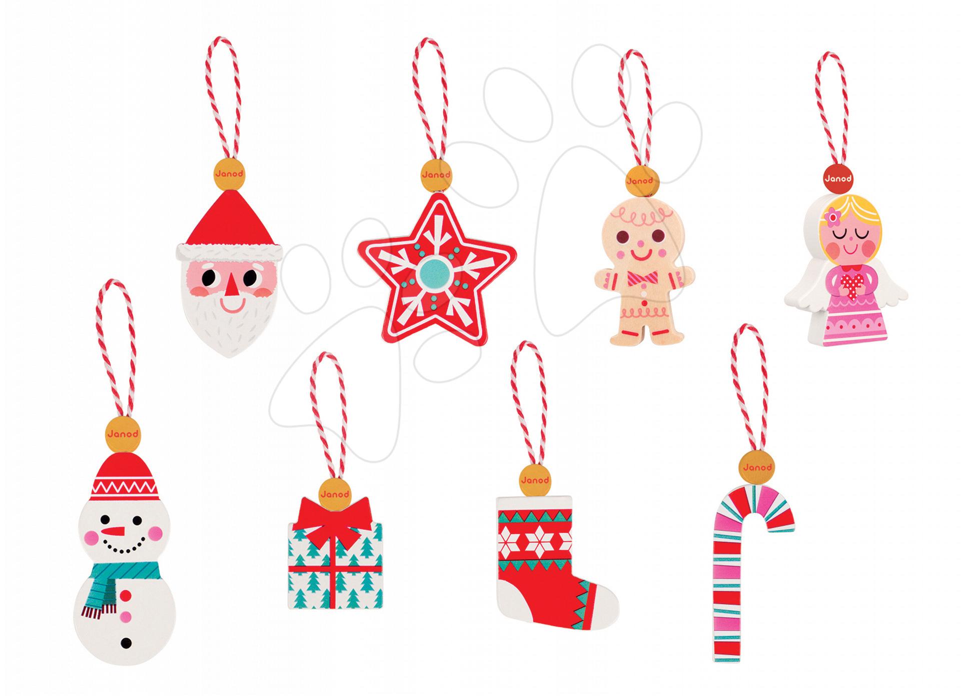 Dřevěné ozdoby na vánoční stromeček Janod se šňůrkou na zavěšení v dárkovém balení 8 ks