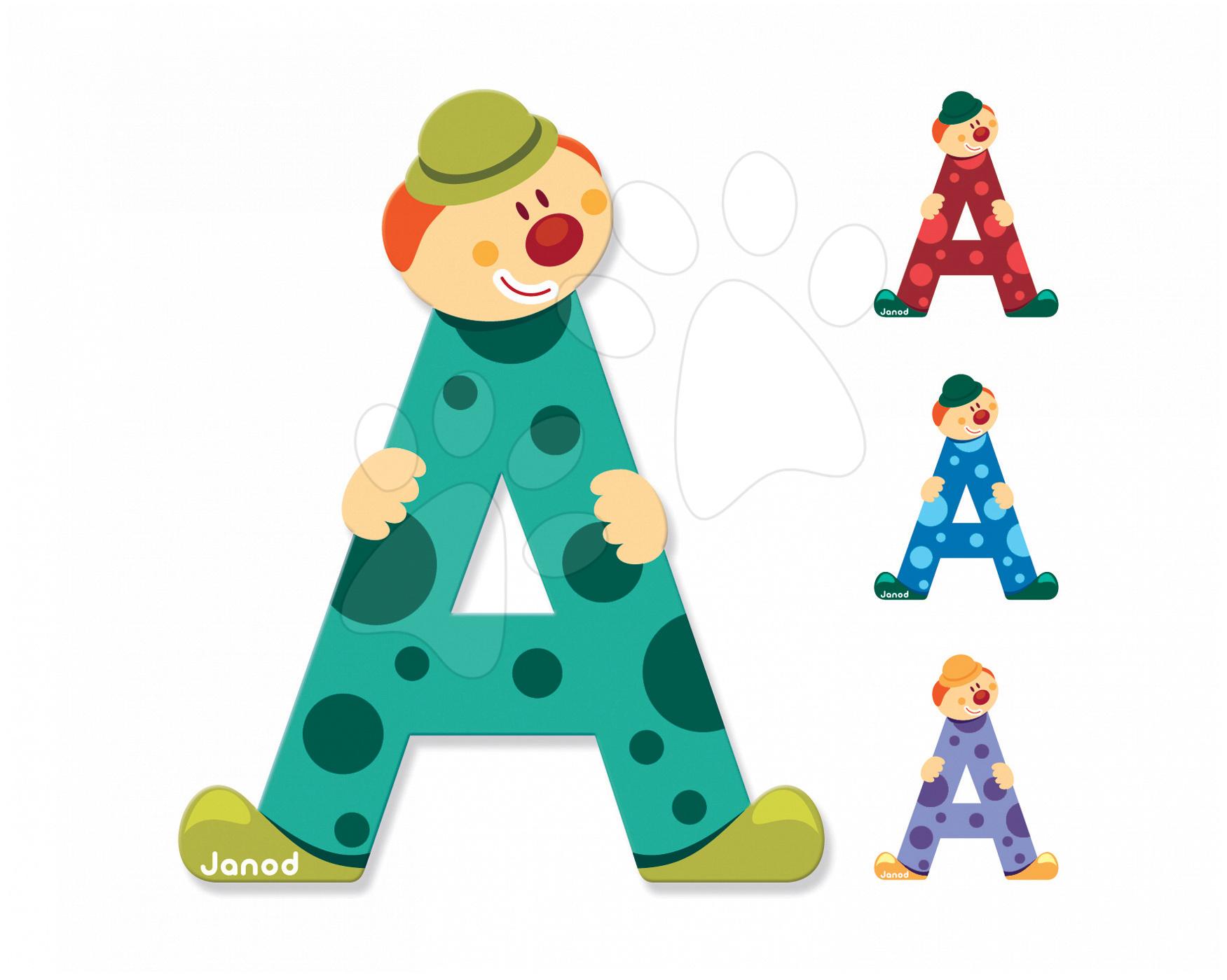 Dřevěné písmeno A Clown Letter Janod lepící 9 cm zelené/fialové/červené/modré
