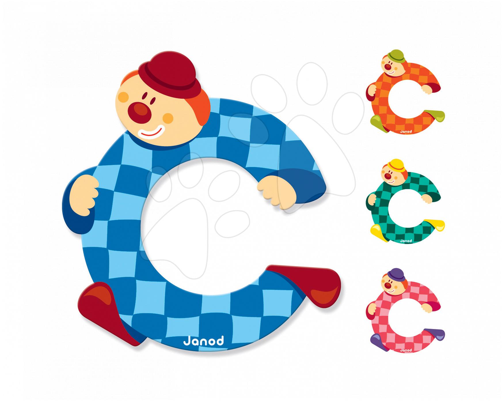 Dřevěné písmeno C Clown Letter Janod lepící 9 cm modré/oranžové/zelené/růžové od 3 let