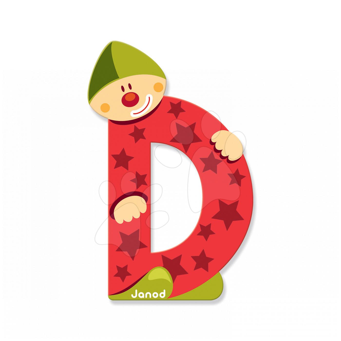 Dřevěné písmeno D Clown Letter Janod lepící 9 cm červené od 3 let