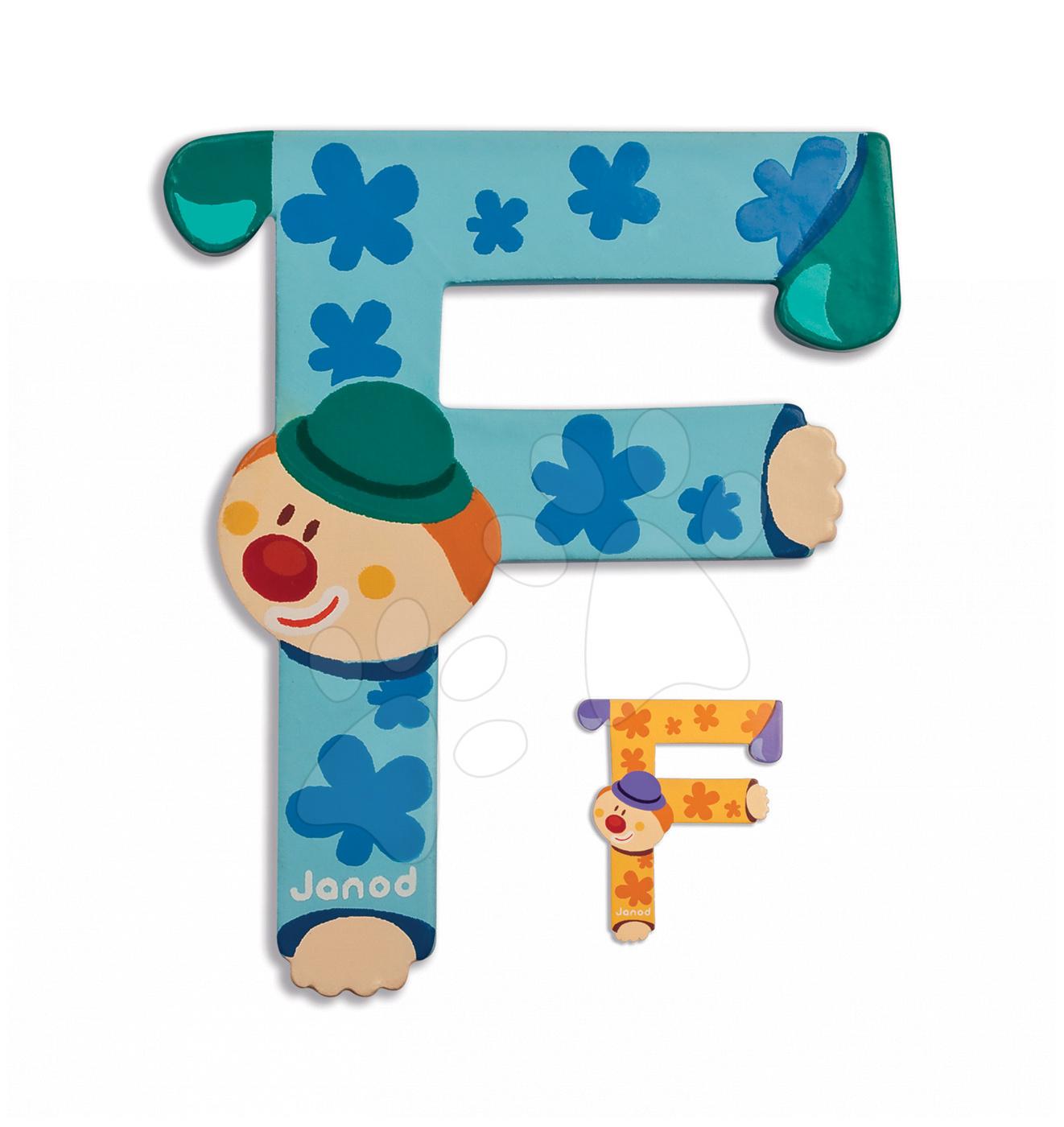 Dřevěné písmeno F Clown Letter Janod lepící 9 cm oranžové od 3 let