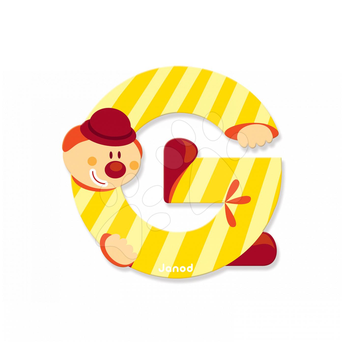 Dřevěné písmeno G Clown Letter Janod lepící 9 cm žluté od 3 let