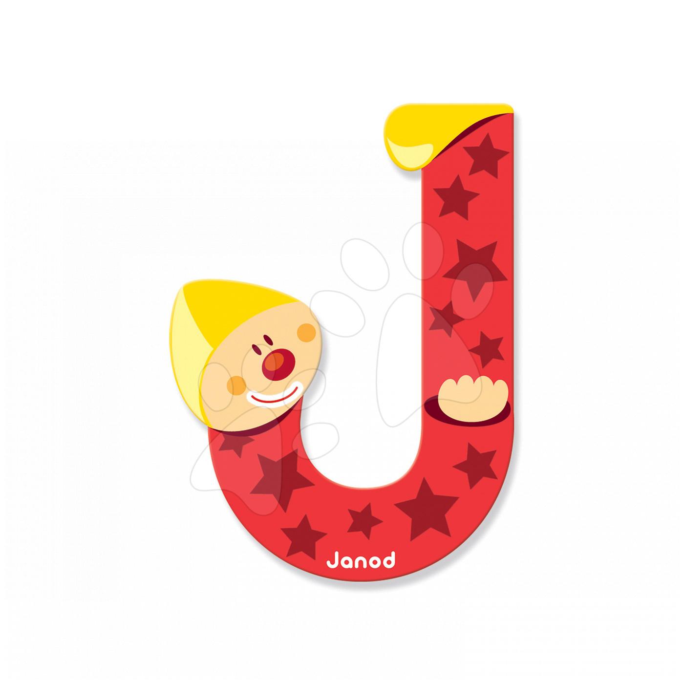 Dekorácie do detských izieb - Drevené písmeno J Clown Letter Janod lepiace 9 cm červené od 3 rokov