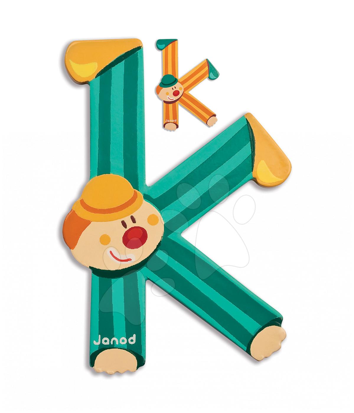 Dřevěné písmeno K Clown Letter Janod lepící 9 cm oranžové