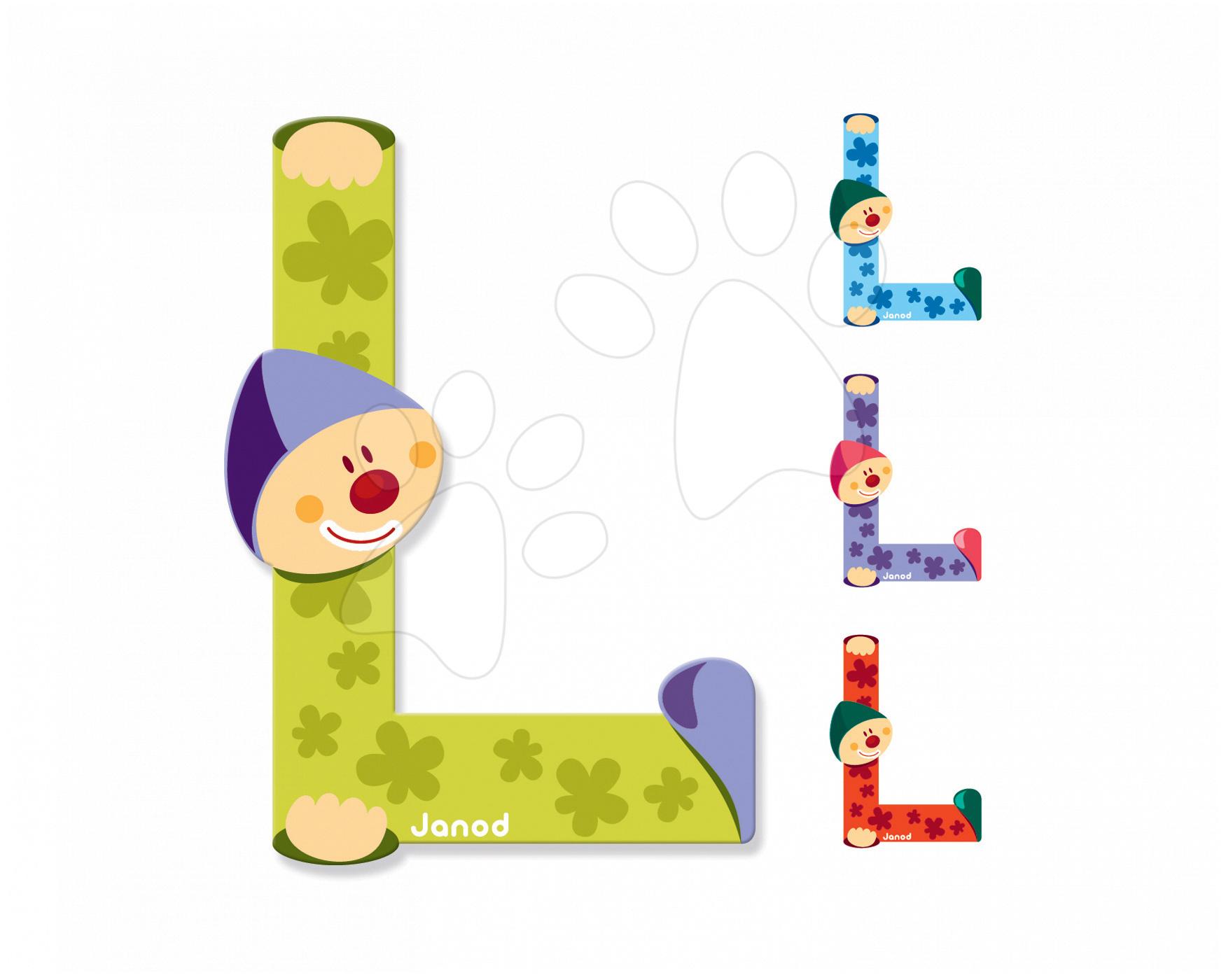 Dekorácie do detských izieb - Drevené písmeno L Clown Letter Janod lepiace 9 cm modré/zelené/fialové/oranžové od 3 rokov