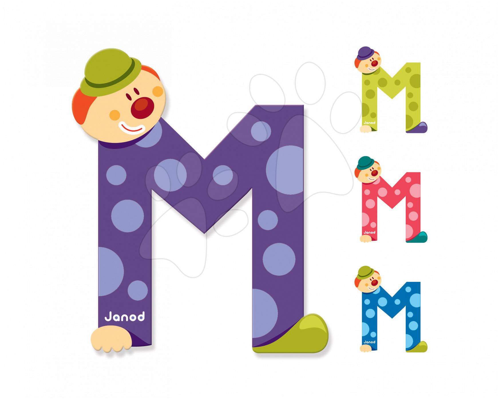 Dekorácie do detských izieb - Drevené písmeno M Clown Letter Janod lepiace 9 cm modré/zelené/fialové/ružové od 3 rokov