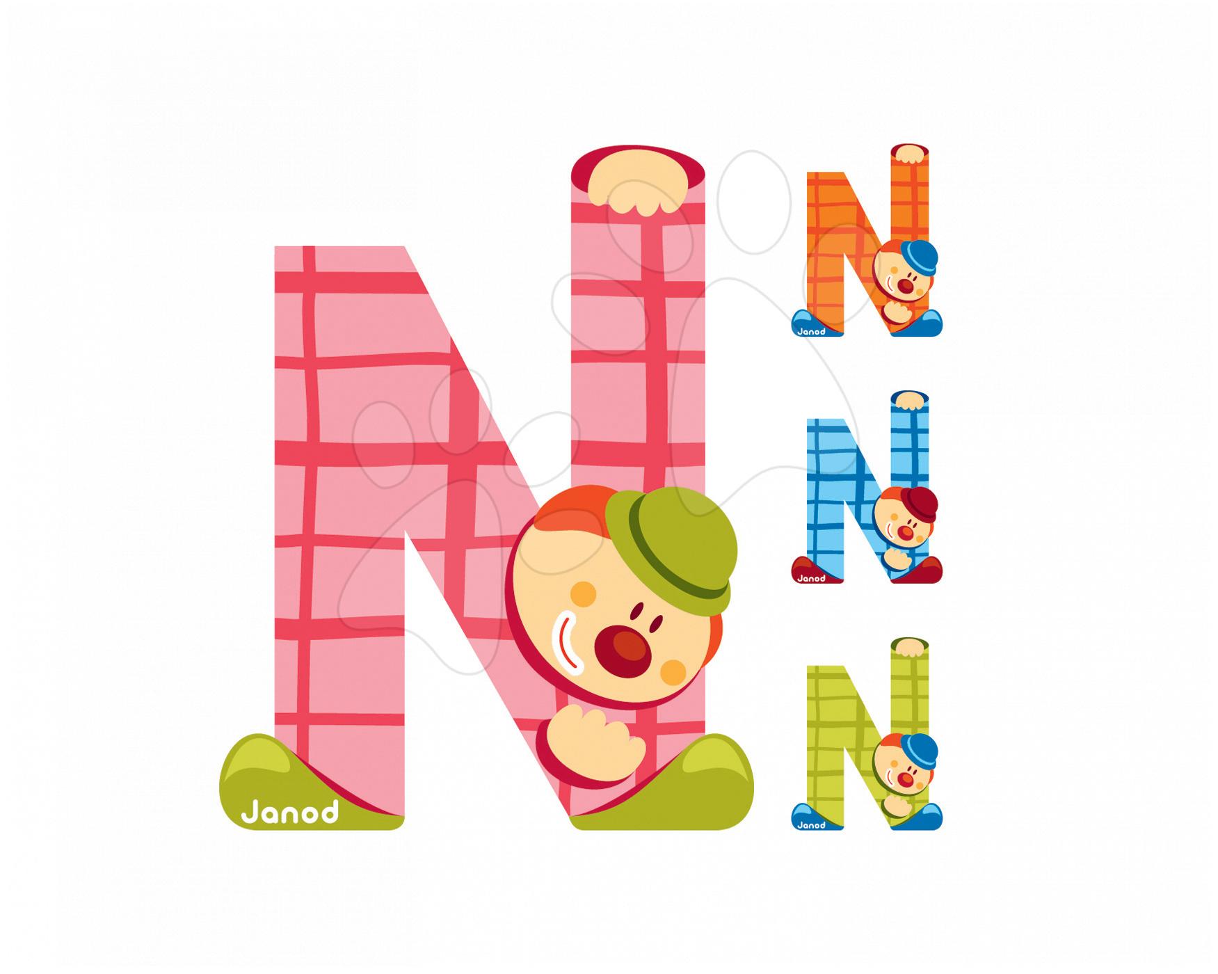 Dřevěné písmeno N Clown Letter Janod lepící 9 cm modré/zelené/oranžové/růžové od 3 let