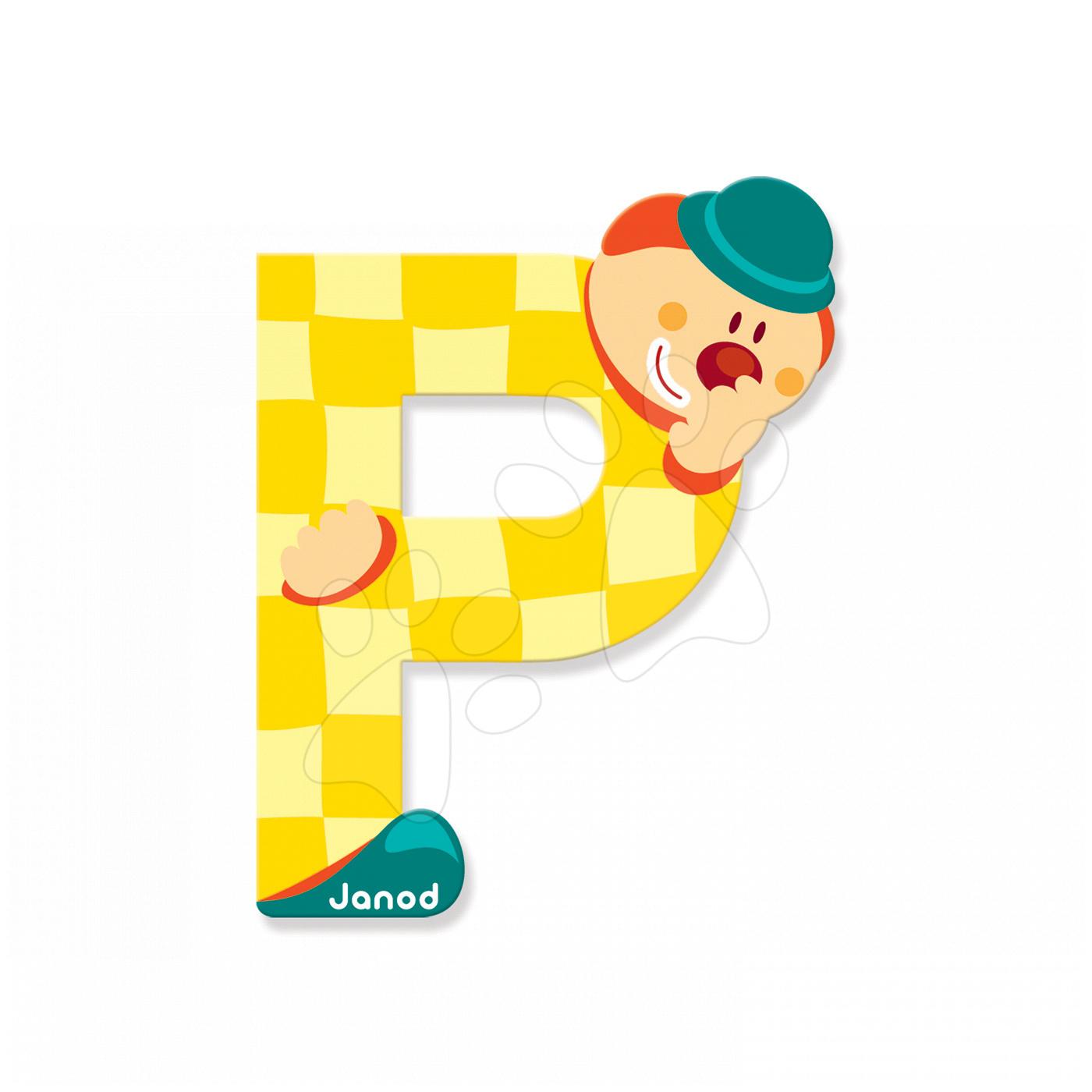 Dekorácie do detských izieb - Drevené písmeno P Clown Letter Janod lepiace 9 cm žlté od 3 rokov