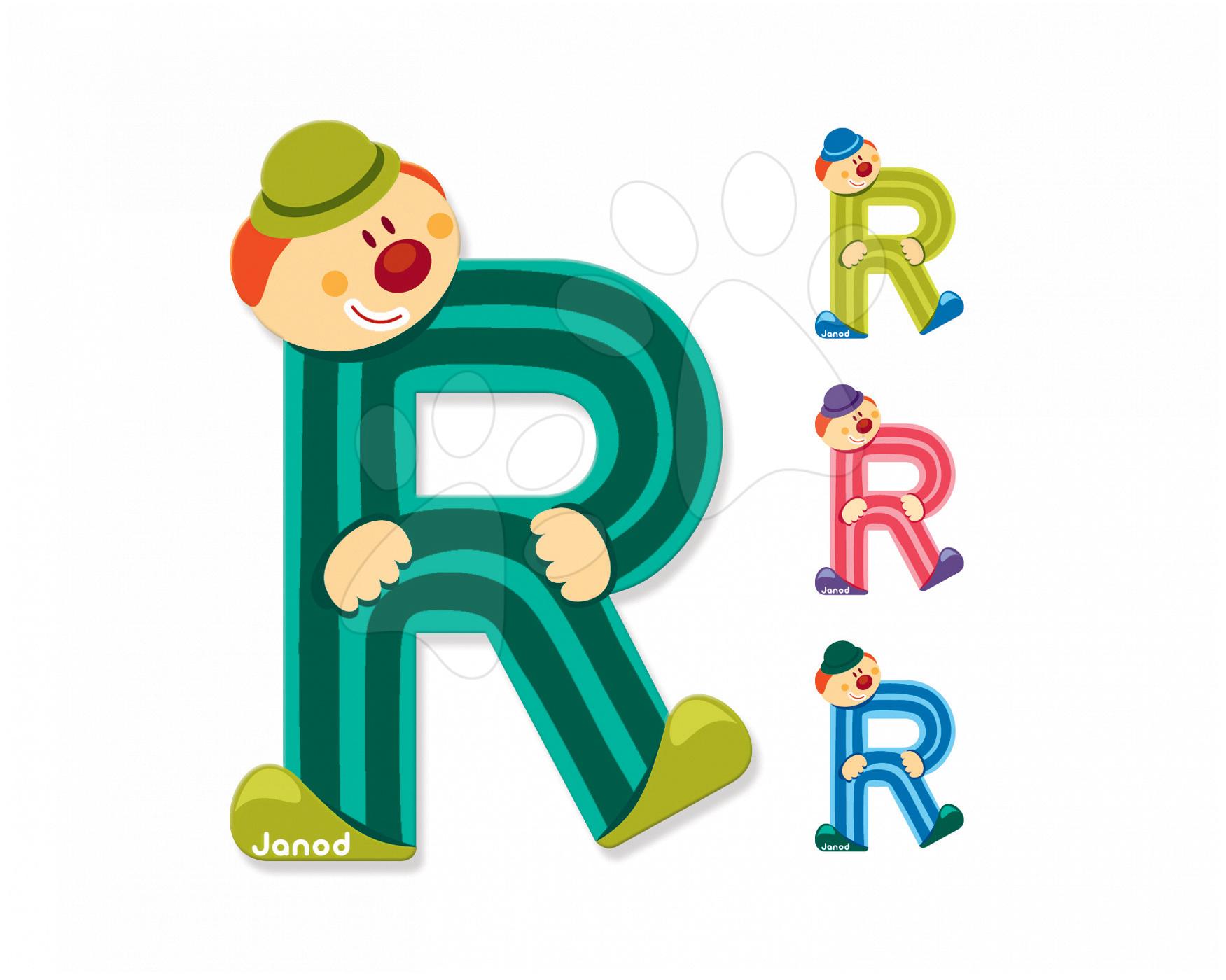 Dekorácie do detských izieb - Drevené písmeno R Clown Letter Janod lepiace 9 cm svetlozelené/tmavozelené/modré/ružové od 3 rokov