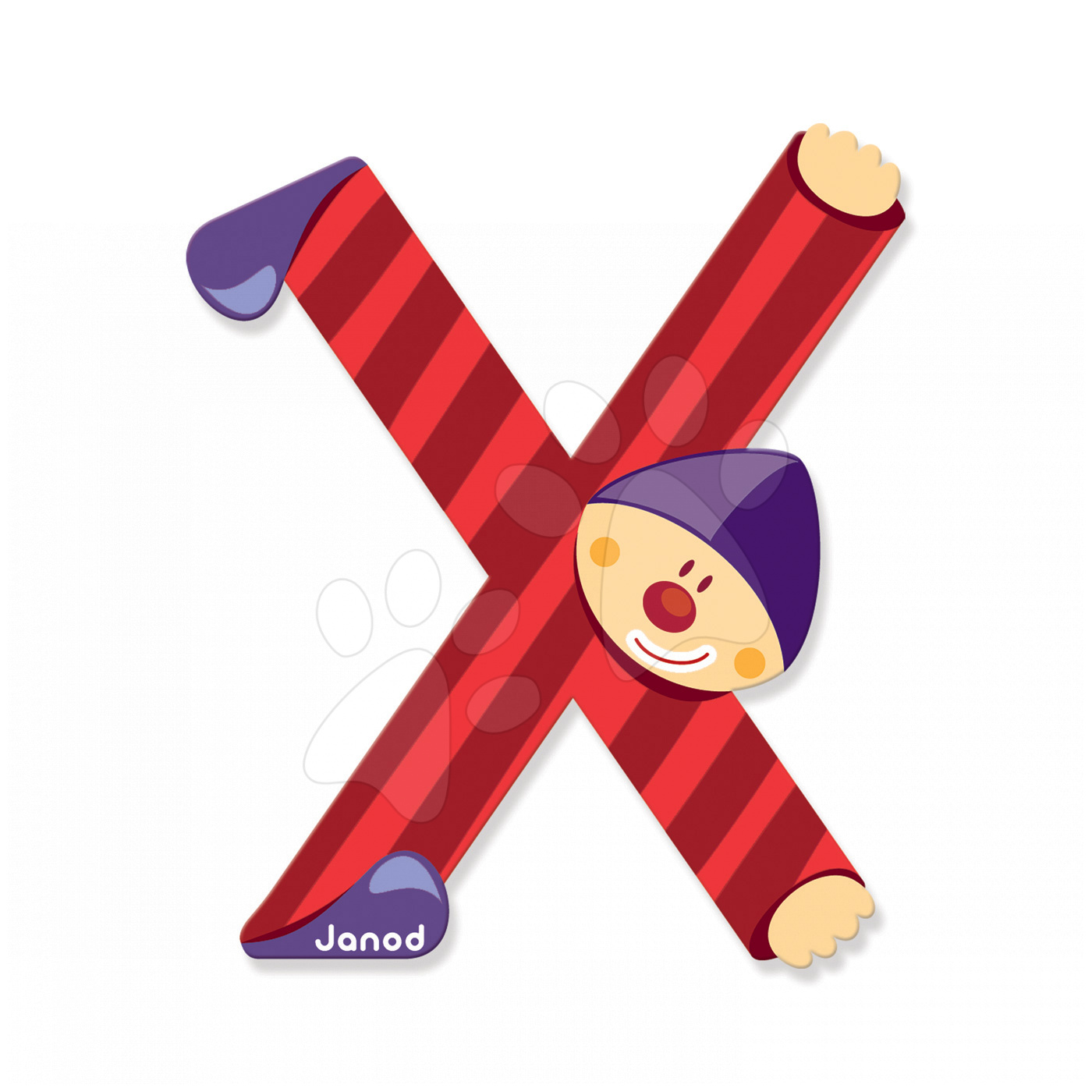 Dřevěné písmeno X Clown Letter Janod lepící 9 cm červené od 3 let