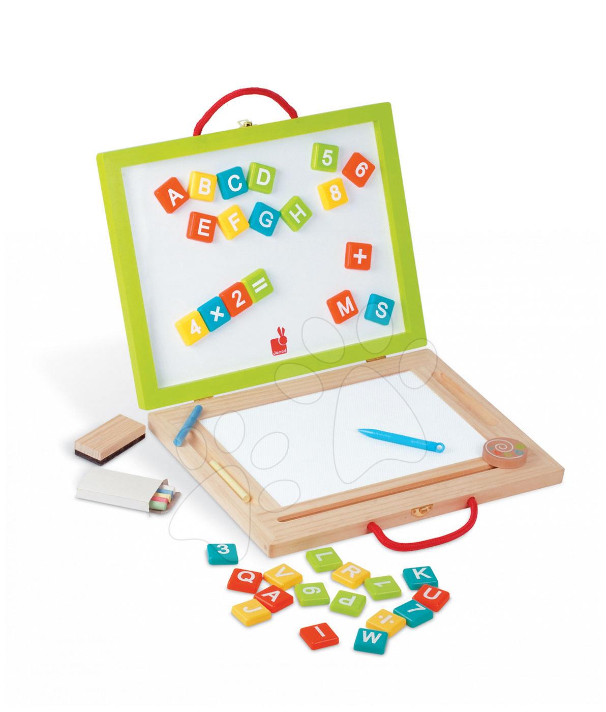 Školské tabule - Drevený kufrík Magic Suitcase 4v1 Janod s magnetickou tabuľou a 44 doplnkami od 3 rokov