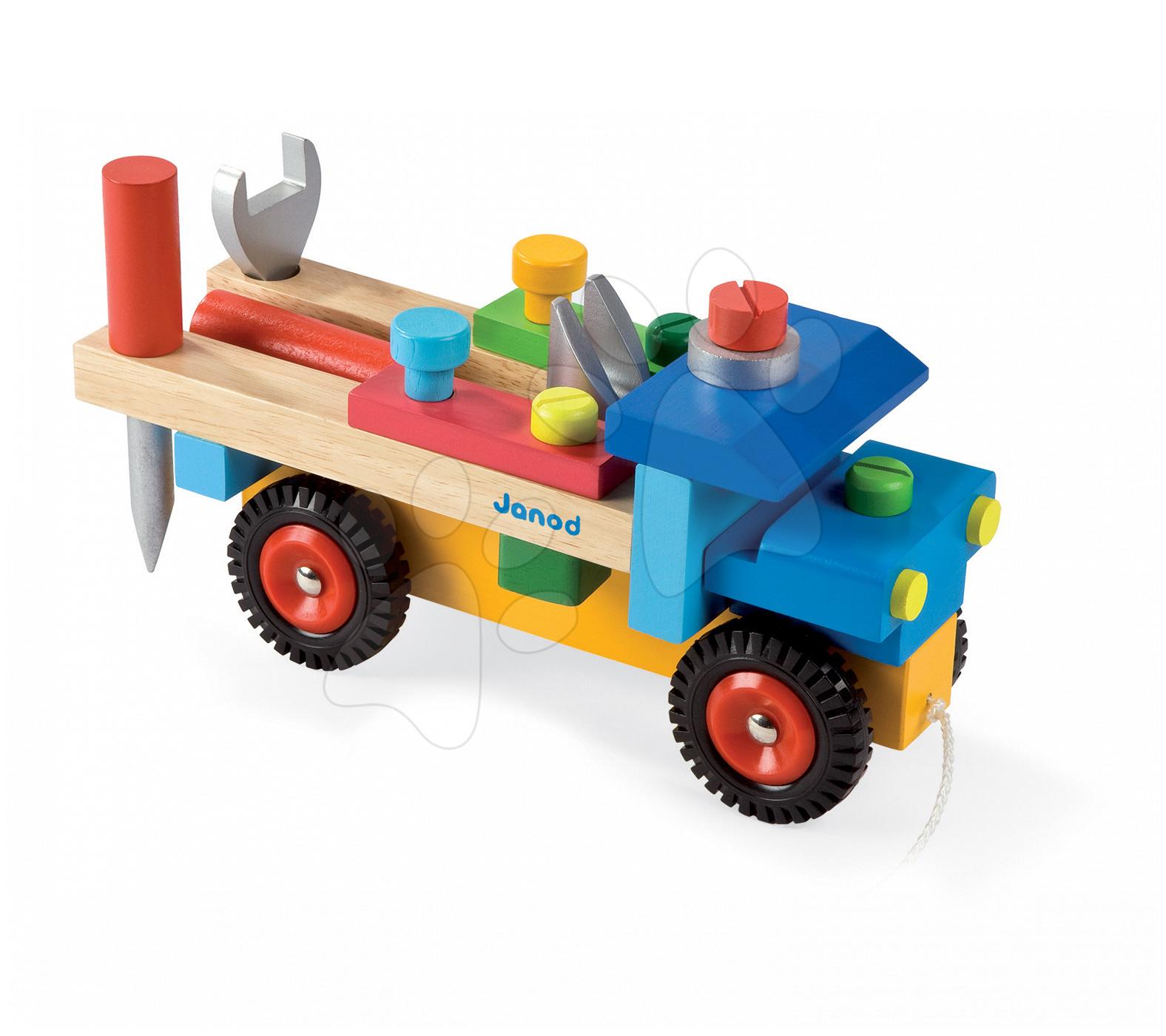 Dřevěná stavebnice auto Redmaster Bricolo Janod s nářadím 17 dílů od 24 měsíců