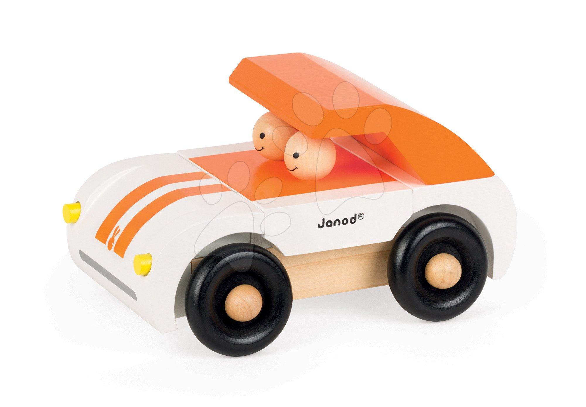 Autíčka - Drevená magnetická skladačka Auto Roadster Kit Magnet Janod 9 dielov oranžové od 24 mes